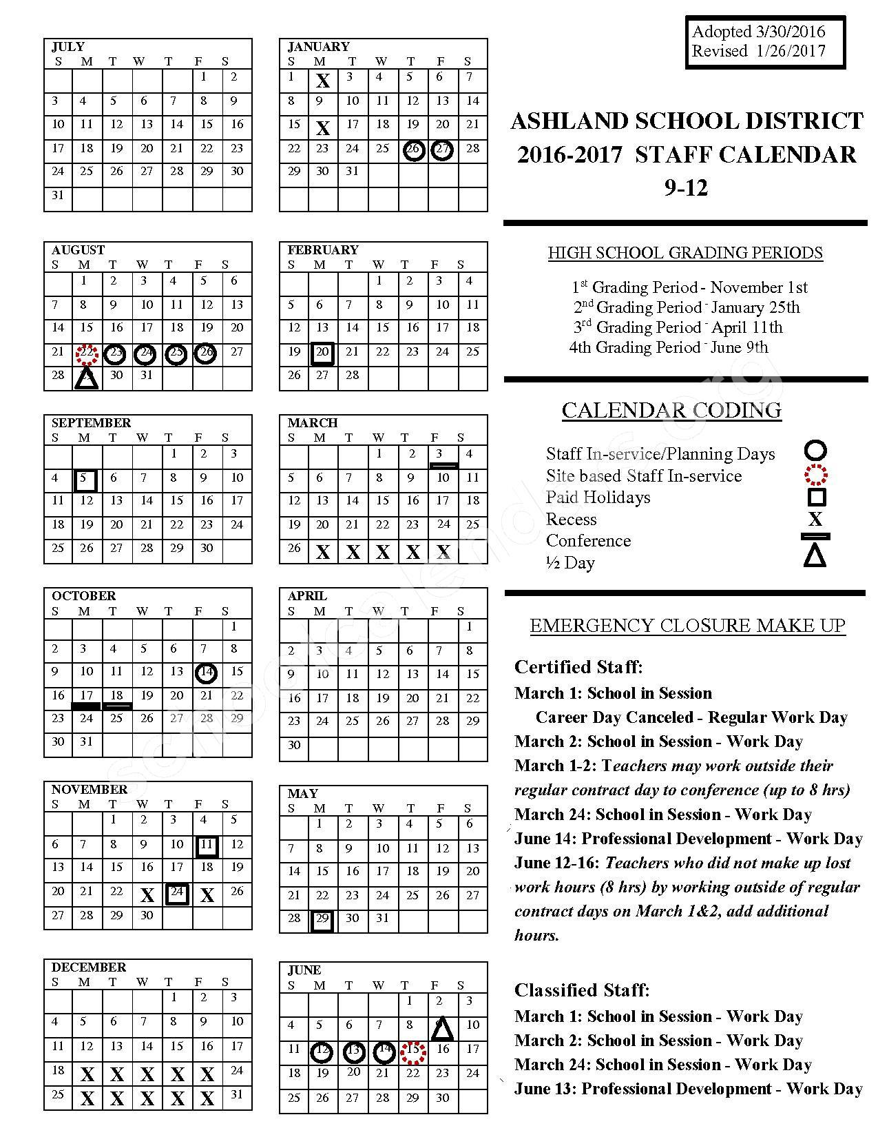 2017 - 2018 District Calendar – Ashland School District – page 1