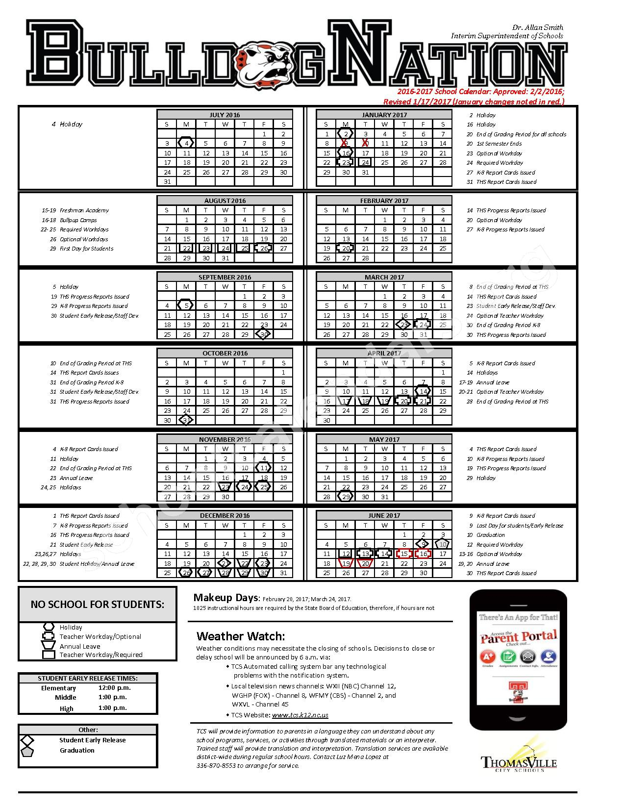 2016 - 2017 School Calendar – Thomasville City Schools – page 1