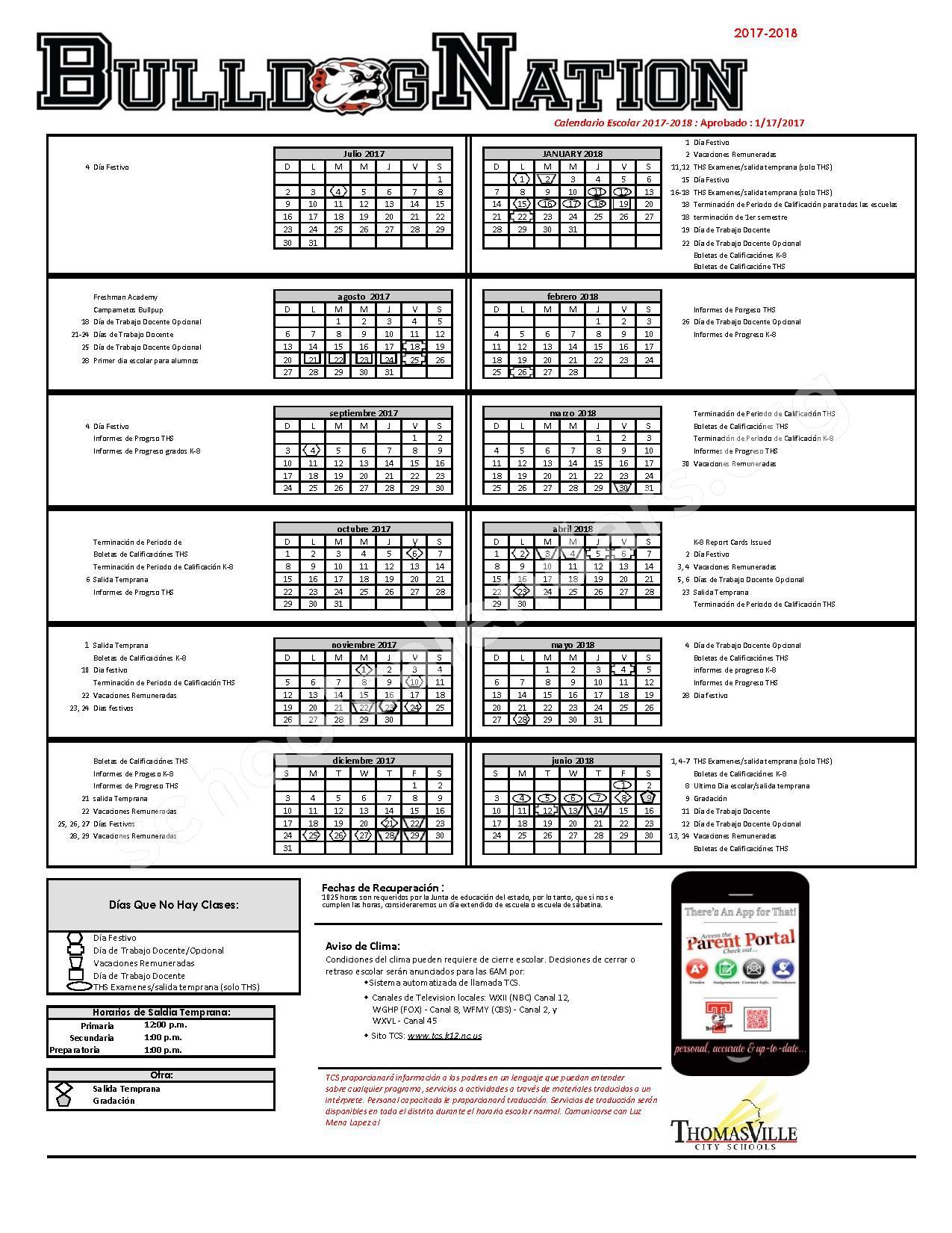 2017 - 2018 School Calendar – Thomasville City Schools – page 1