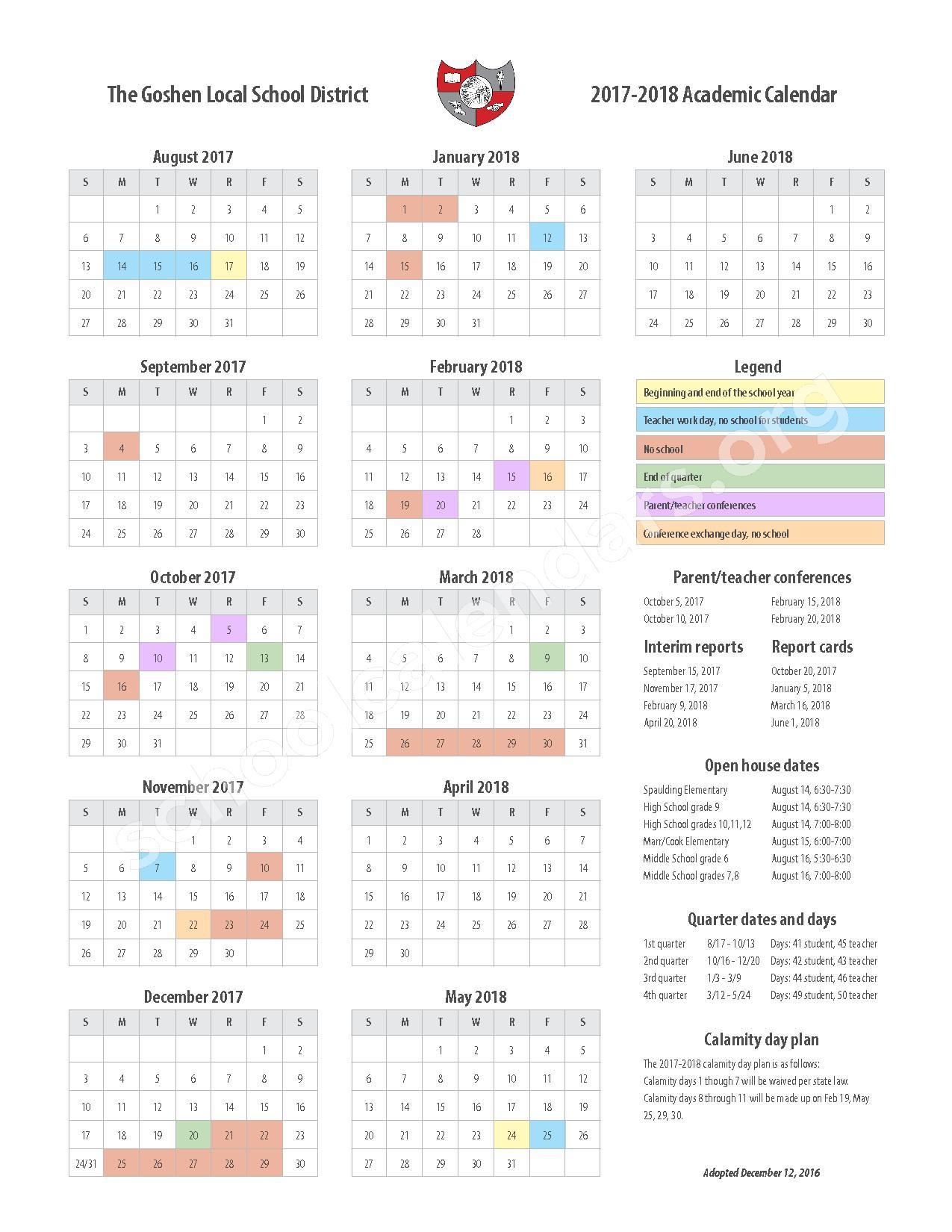 2017 - 2018 Calendar – Goshen Local Schools – page 1