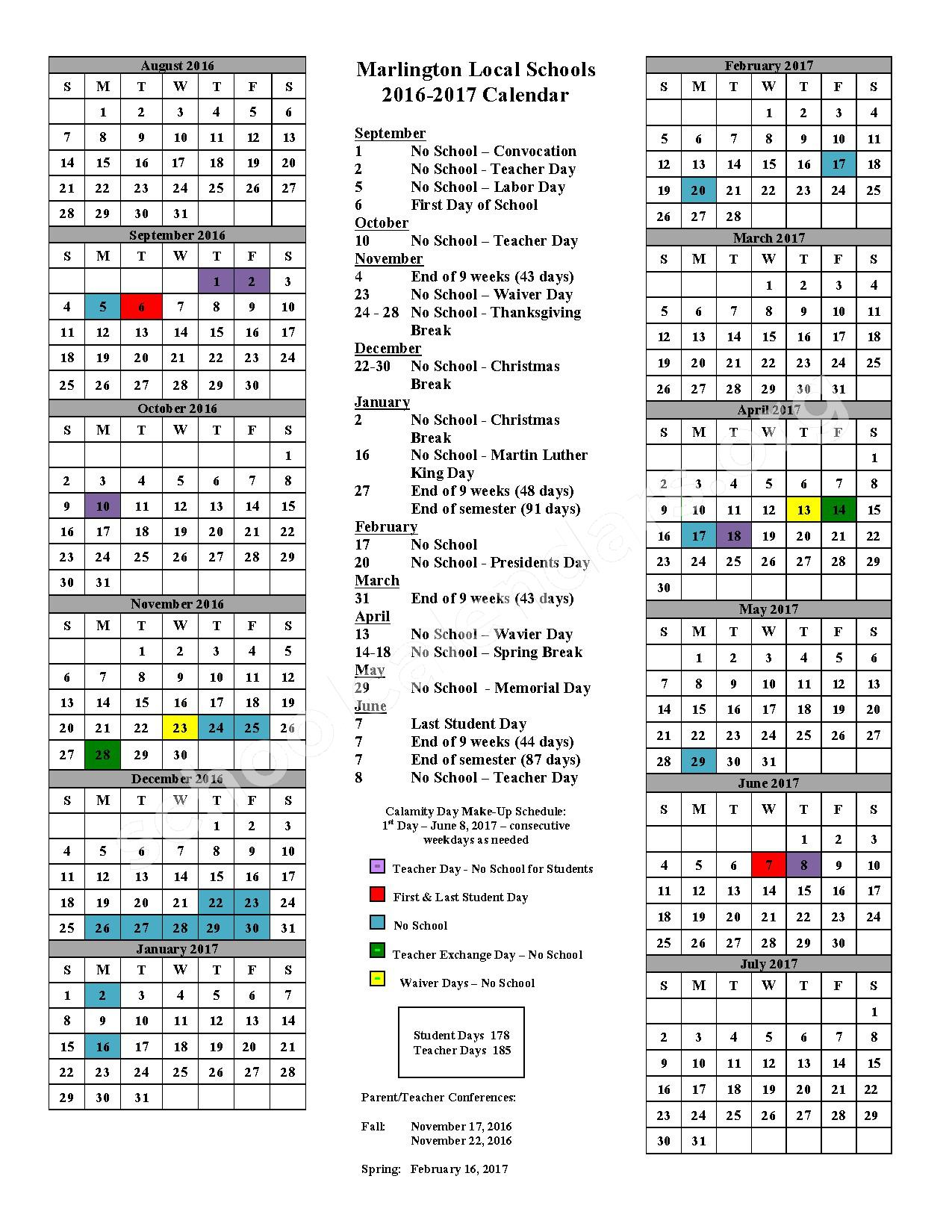 2016 - 2017 School Calendar – Marlington Local Schools – page 1