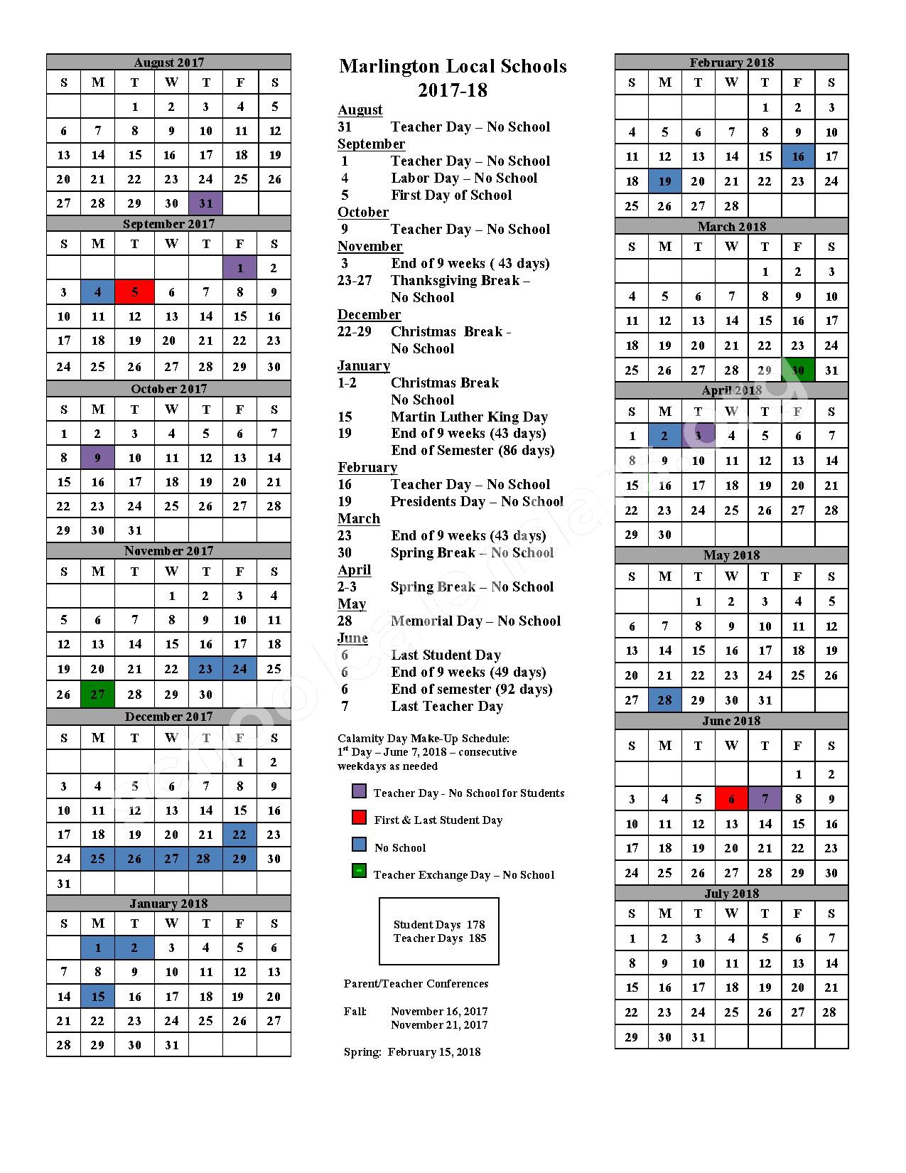 2017 - 2018 School Calendar – Marlington Local Schools – page 1