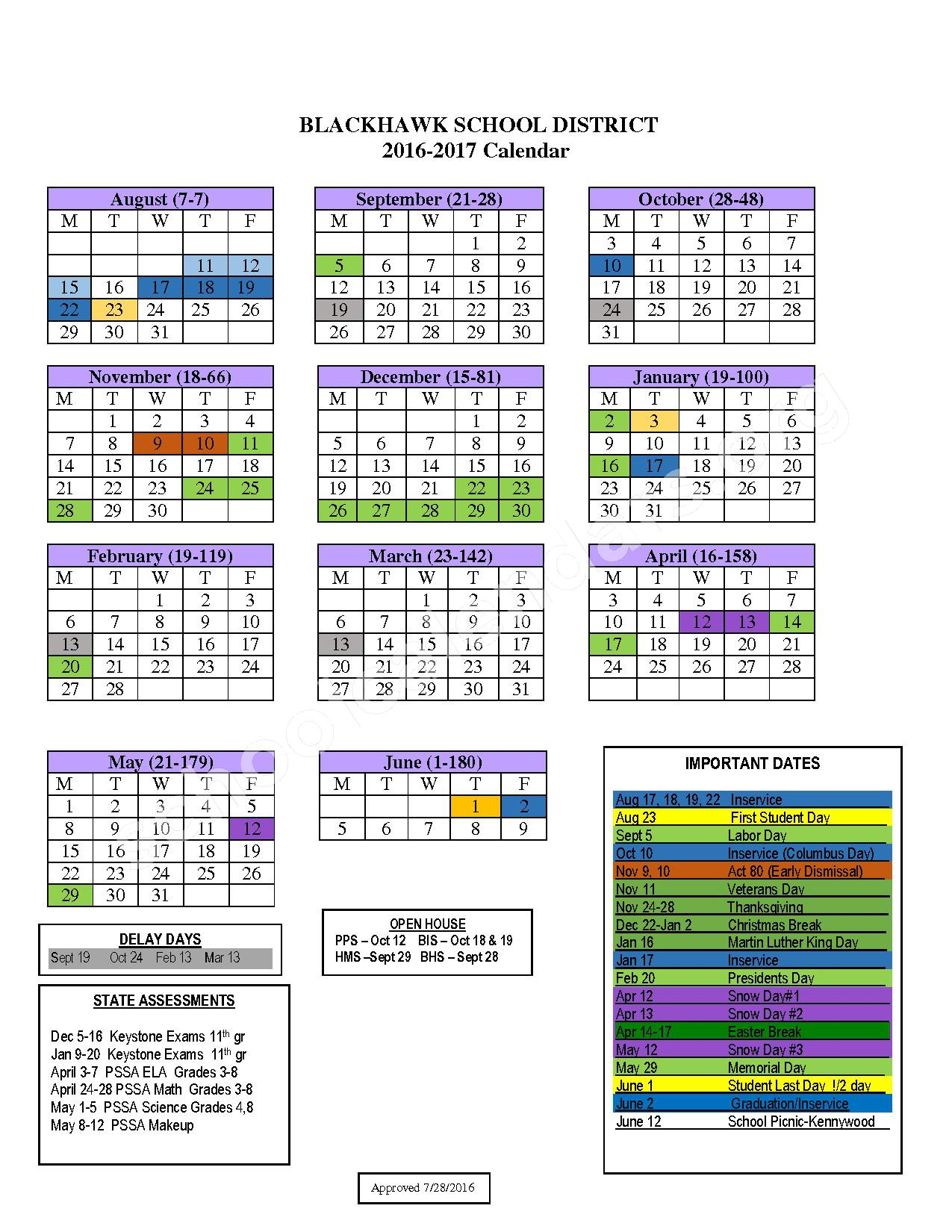 2016 - 2017 Academic Calendar – Blackhawk School District – page 1