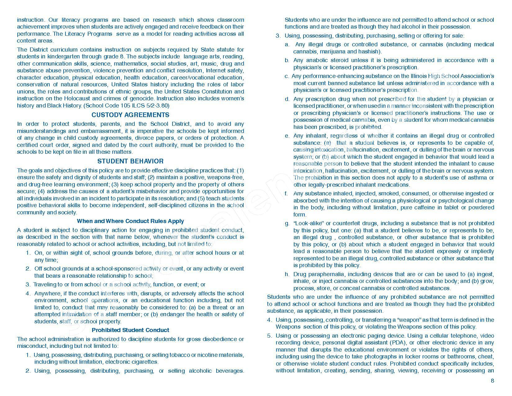 2016 - 2017 Parent/Student Handbook – Roosevelt Elementary School – page 12