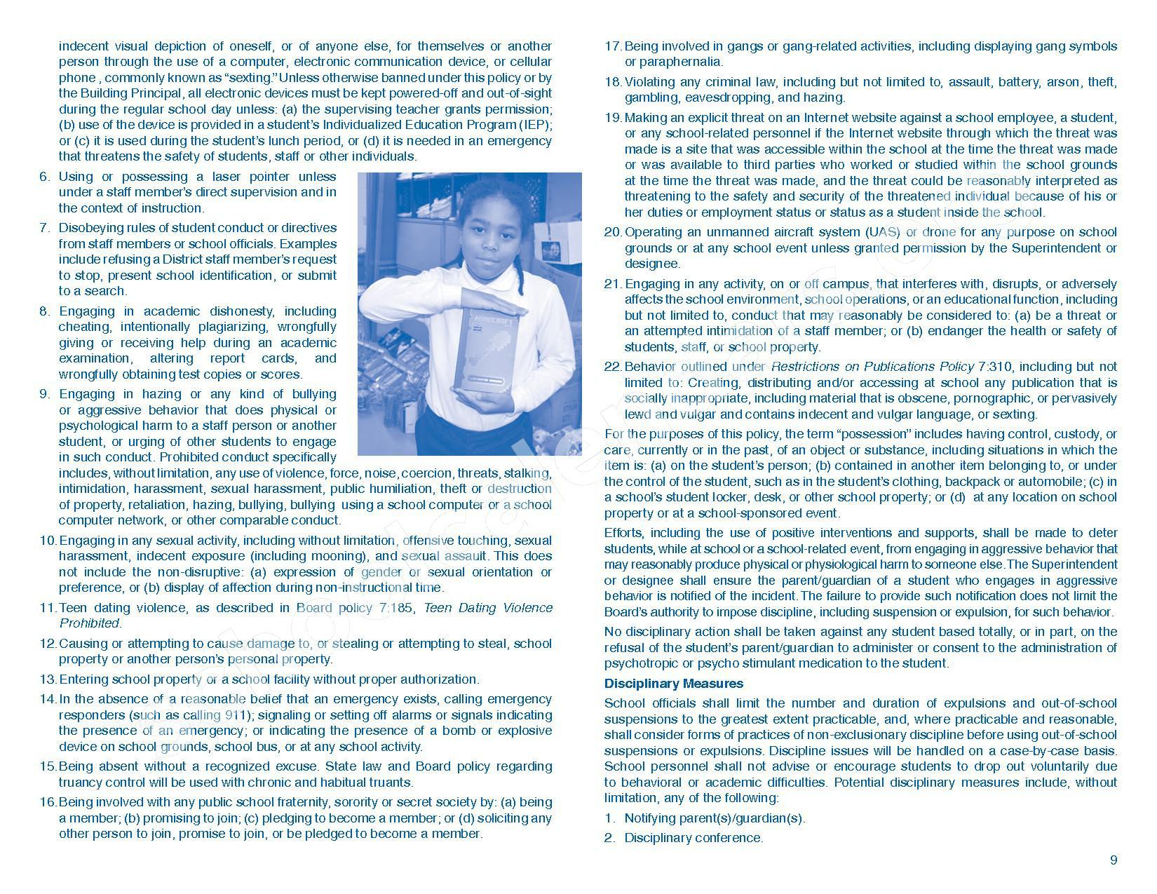 2016 - 2017 Parent/Student Handbook – Roosevelt Elementary School – page 13