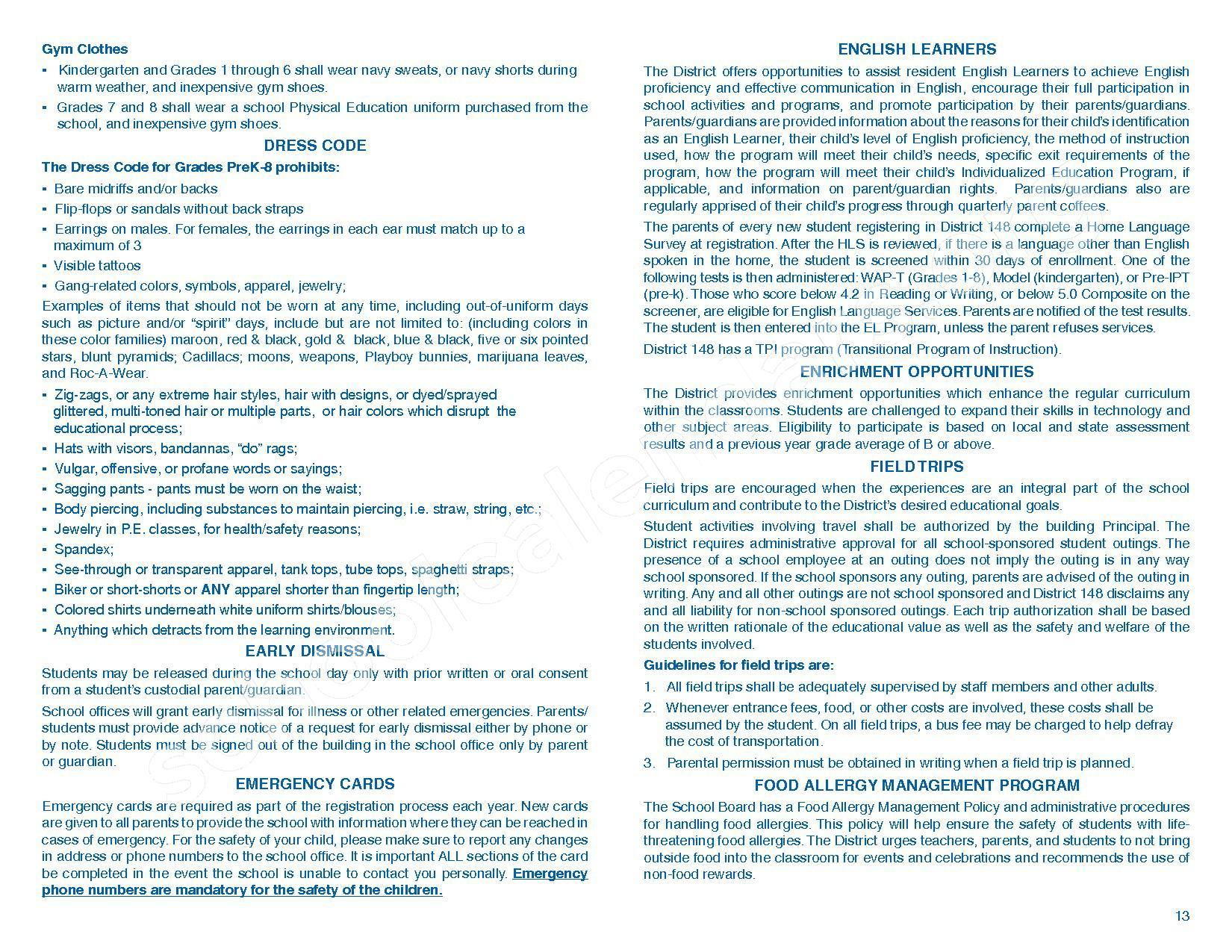 2016 - 2017 Parent/Student Handbook – Roosevelt Elementary School – page 17