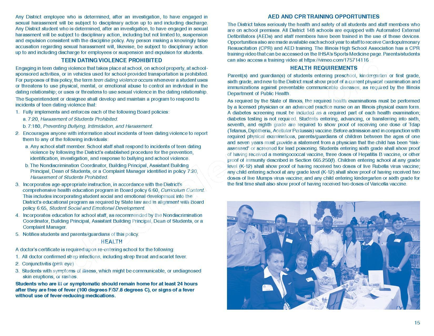 2016 - 2017 Parent/Student Handbook – Roosevelt Elementary School – page 19