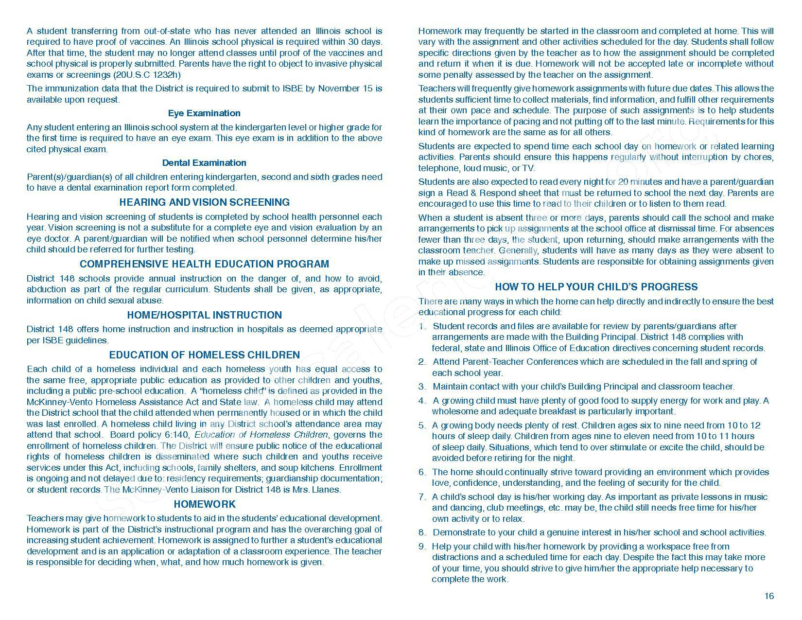 2016 - 2017 Parent/Student Handbook – Roosevelt Elementary School – page 20