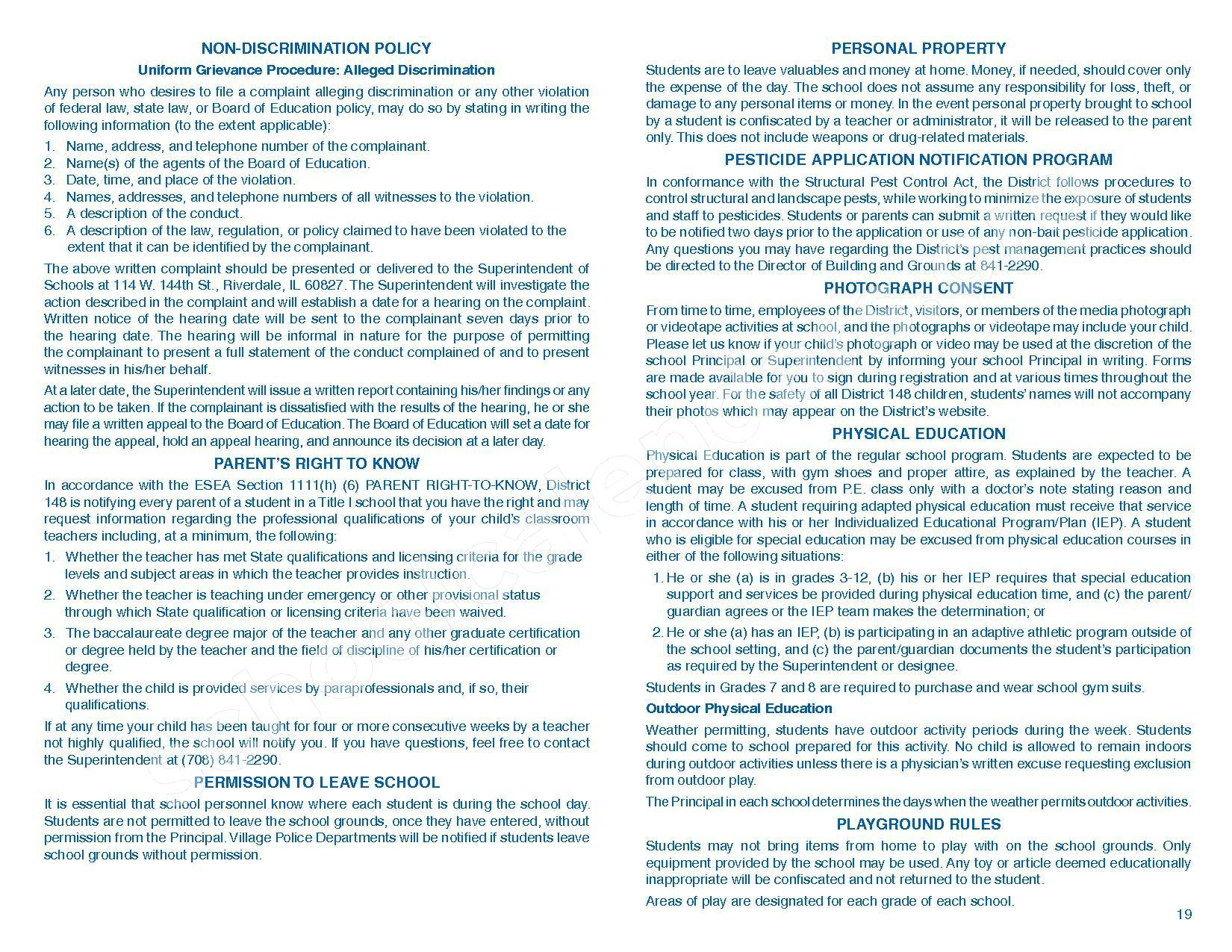 2016 - 2017 Parent/Student Handbook – Roosevelt Elementary School – page 23