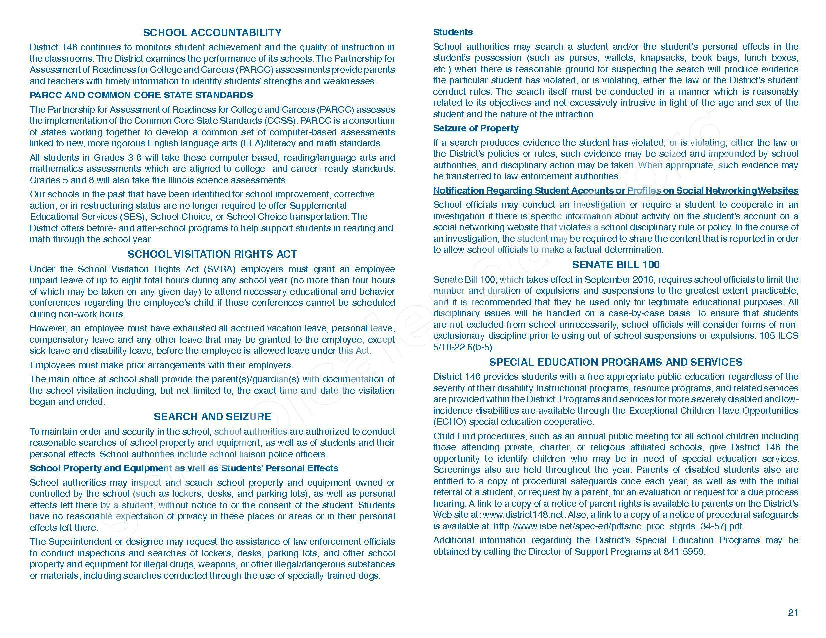 2016 - 2017 Parent/Student Handbook – Roosevelt Elementary School – page 25