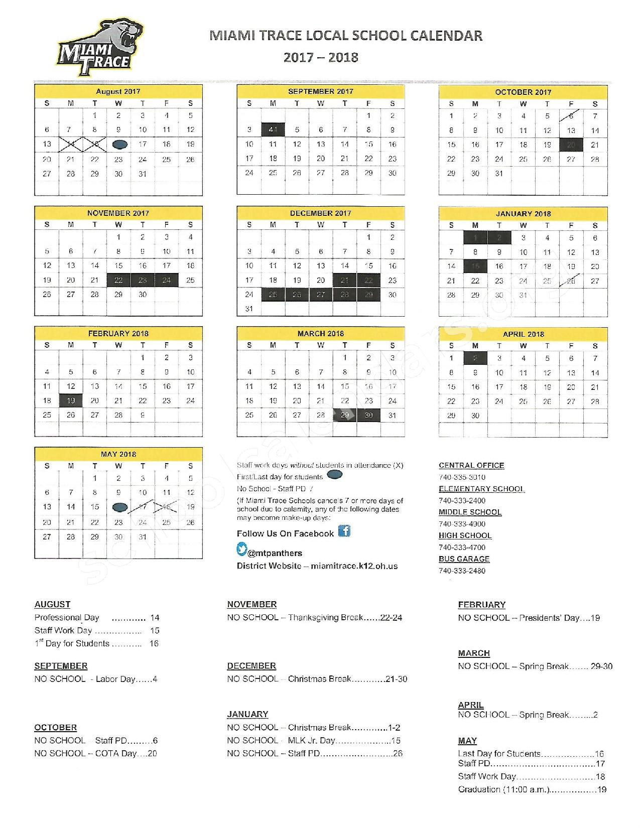 2017 - 2018 School Calendar – Miami Trace Local Schools – page 1