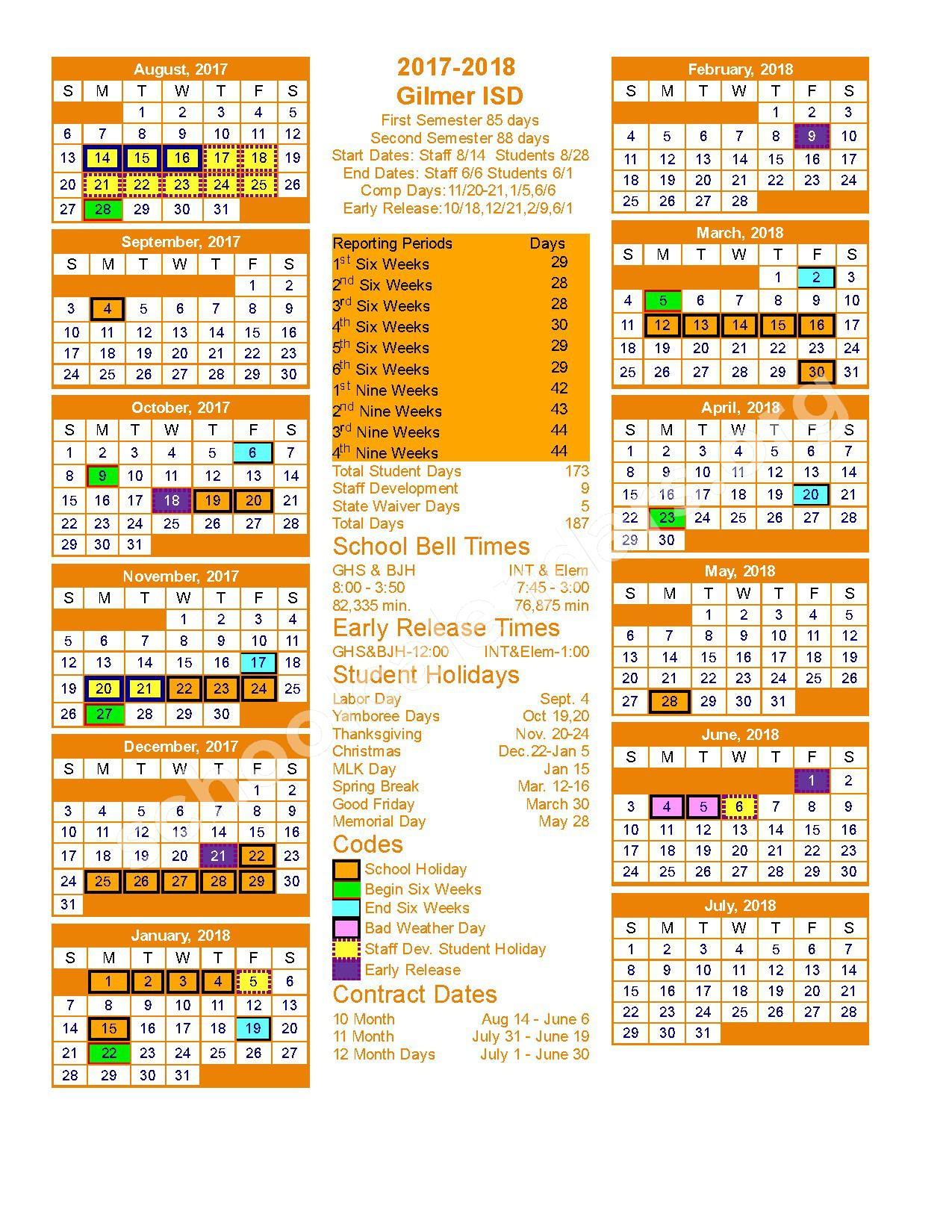2017 - 2018 School Calendar – Gilmer Independent School District – page 1