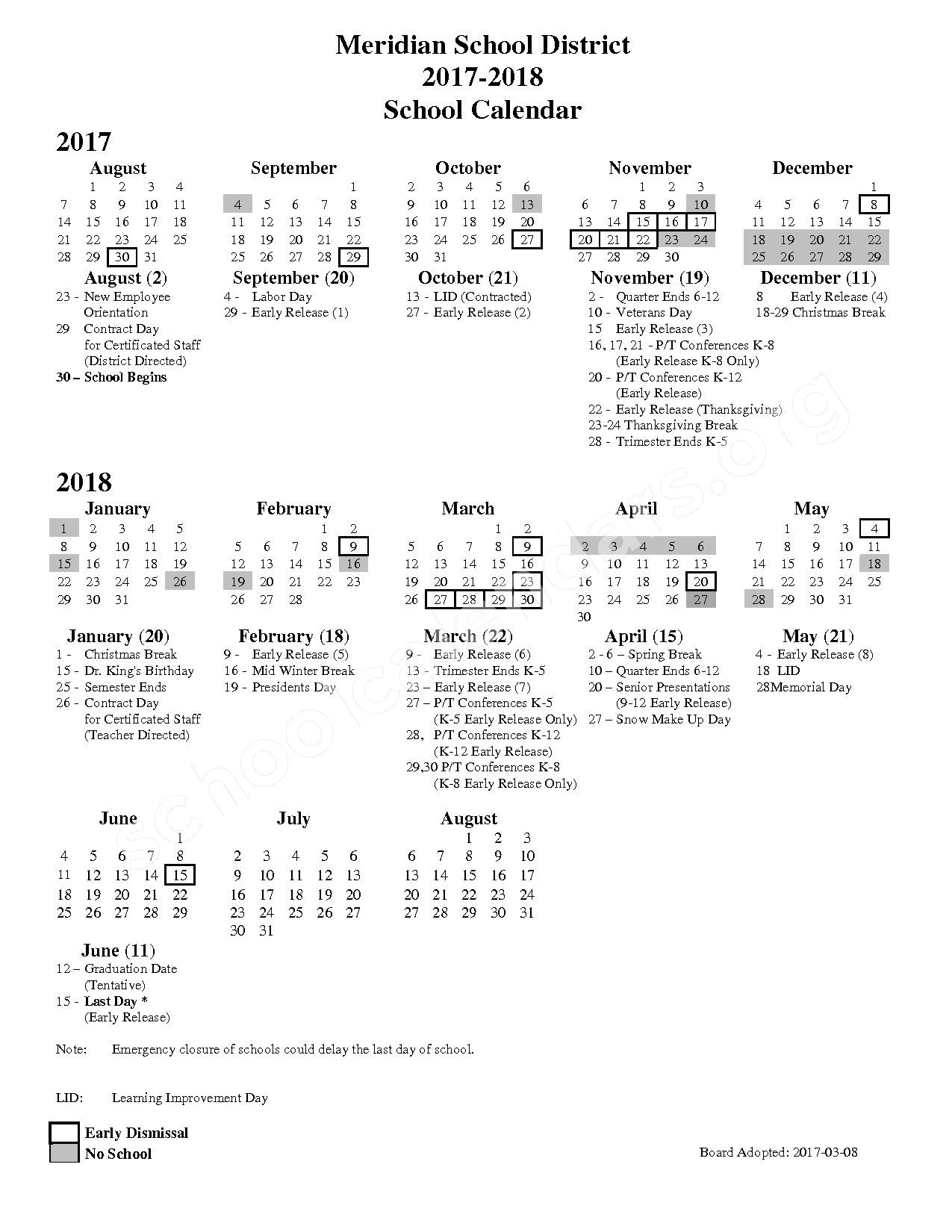 2017 - 2018 School Calendar – Meridian School District – page 1