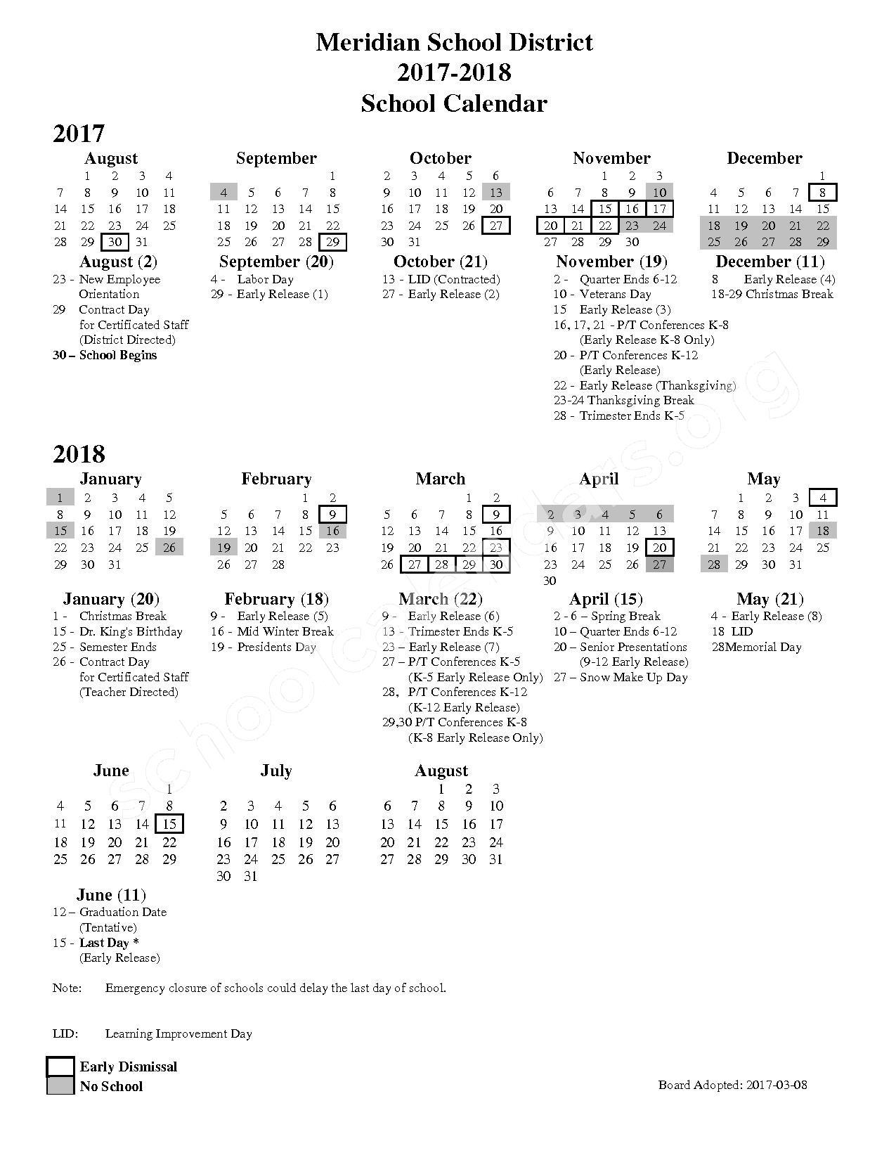 2017 - 2018 School Calendar – Meridian School District – page 1