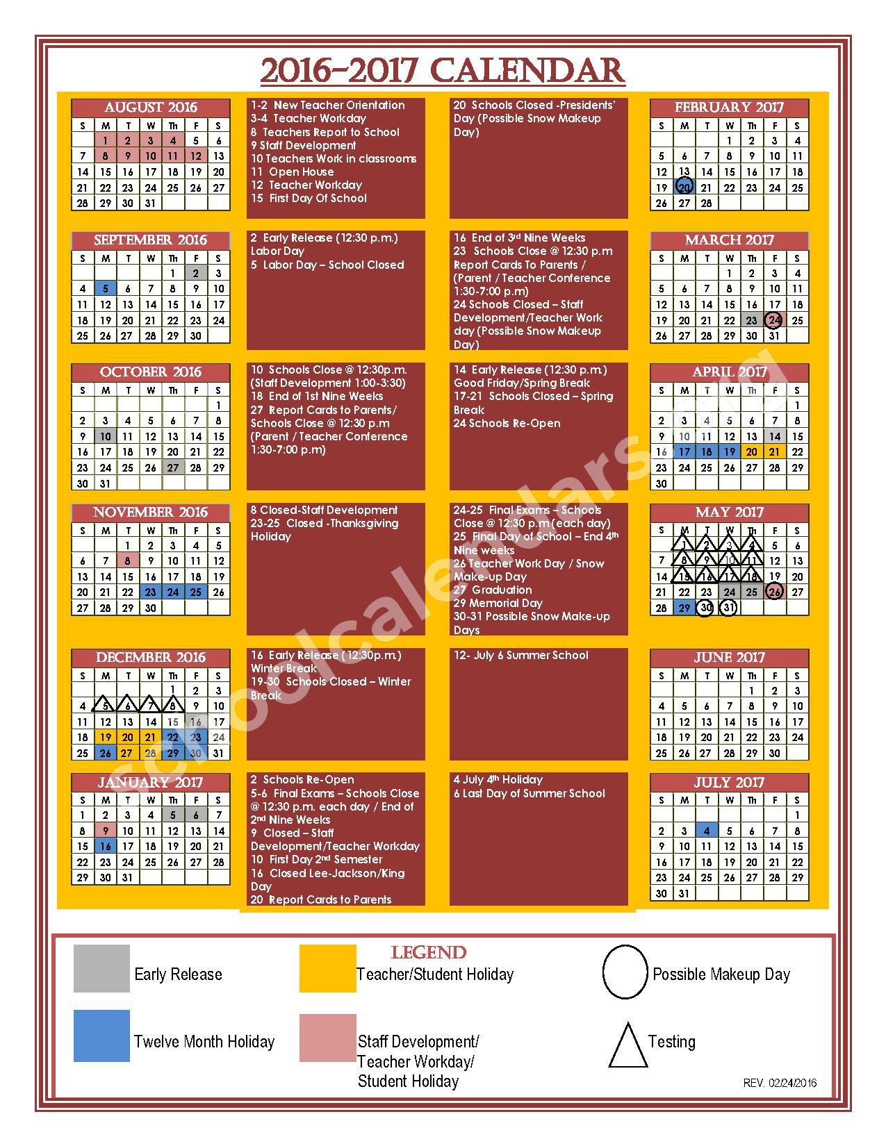 2016 - 2017 School Calendar – Nottoway County Public Schools – page 1