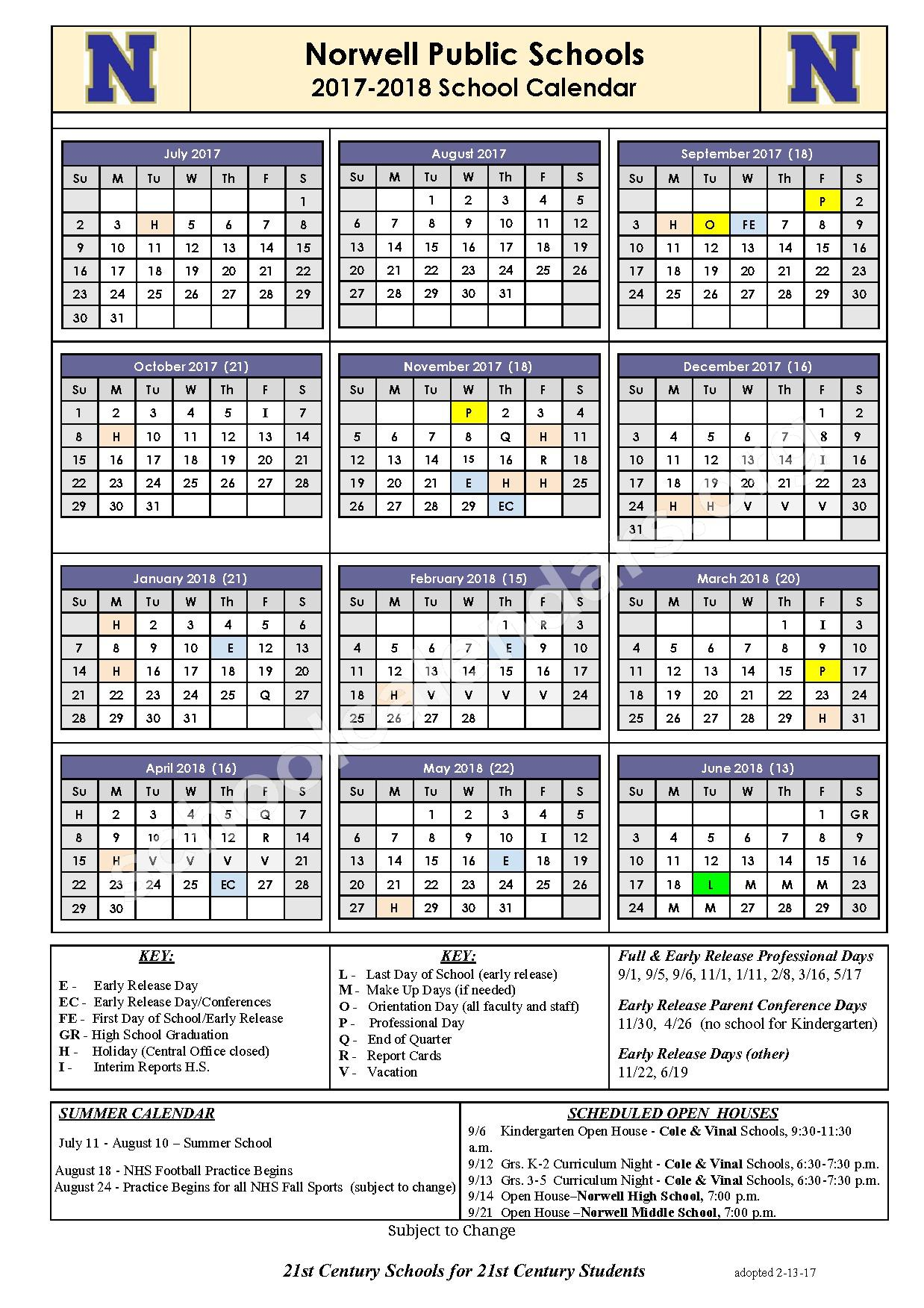 2017 - 2018 School District Calendar – Norwell Public Schools – page 1