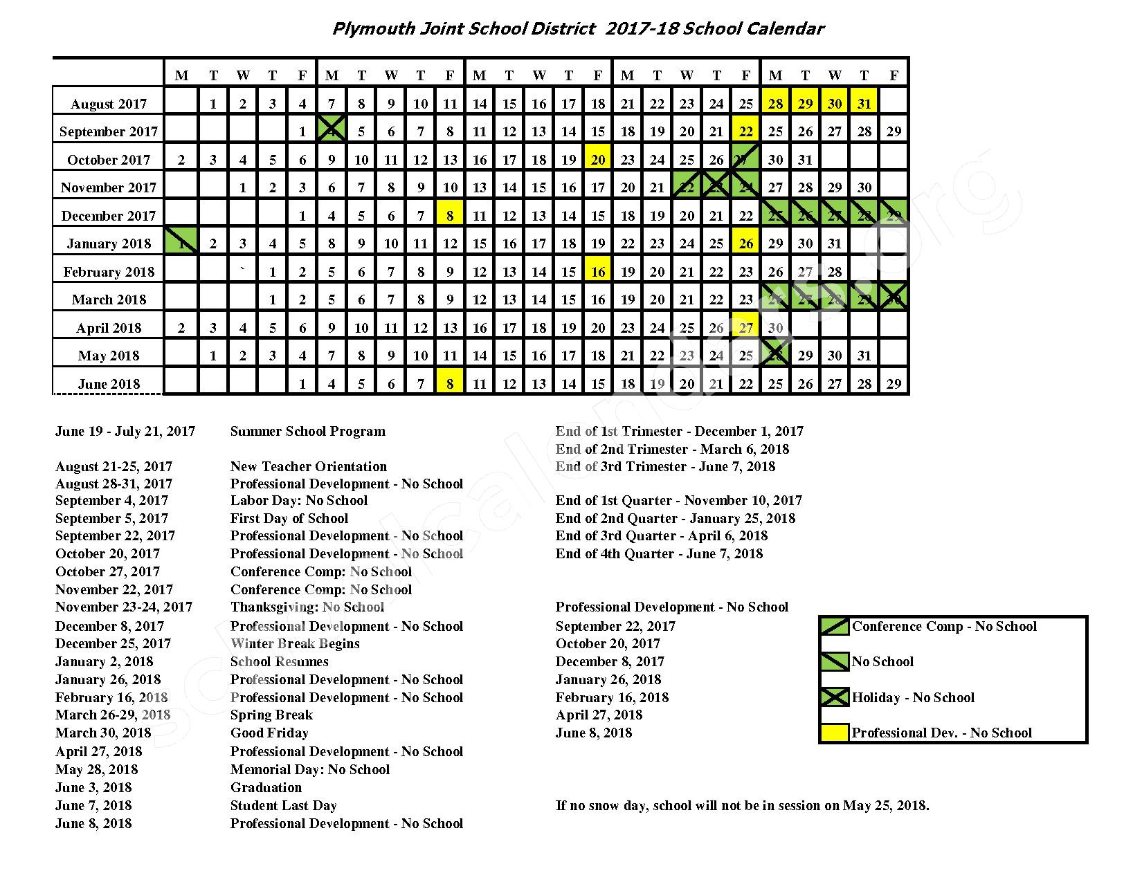 2017 - 2018 School Calendar – Plymouth Joint School District – page 1