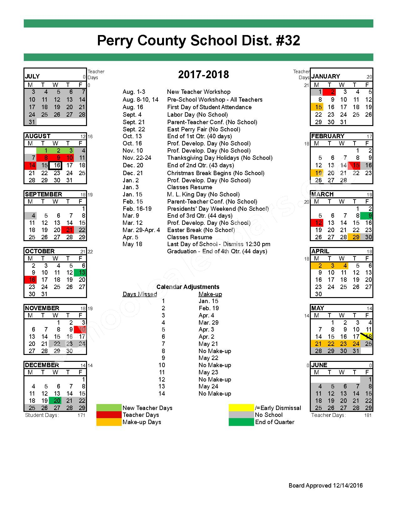 2017 - 2018 School Calendar – Perry County School District 32 – page 1