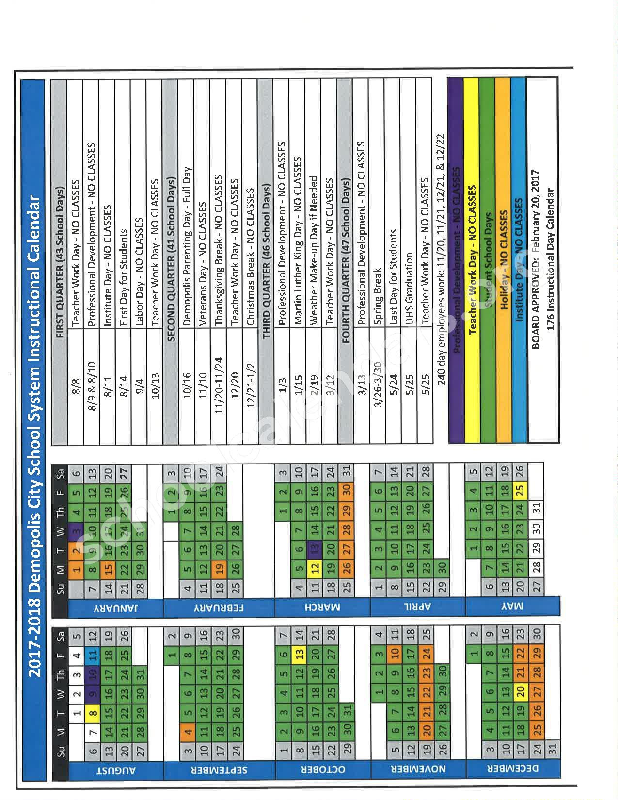 2017 - 2018 Academic Calendar – Demopolis City Schools – page 1