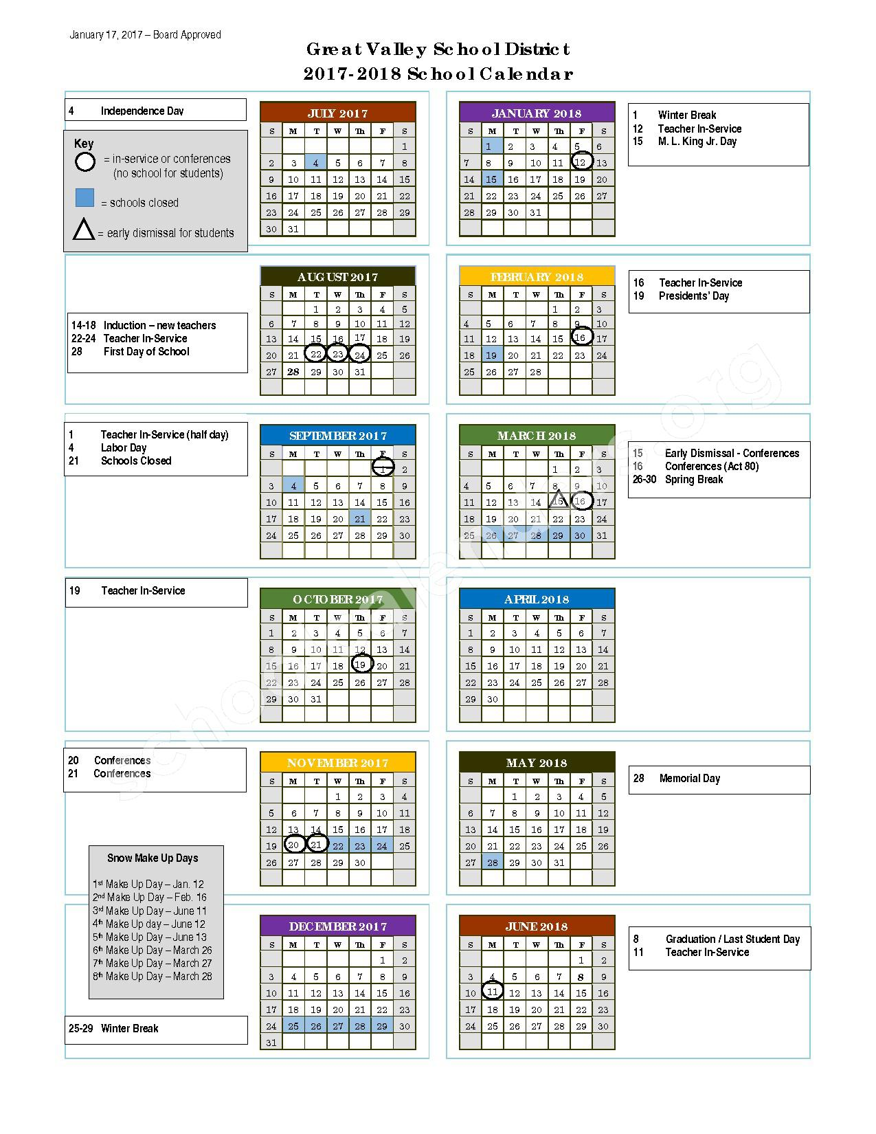 2017 - 2018 District Calendar – Perry County School District 32 – page 1