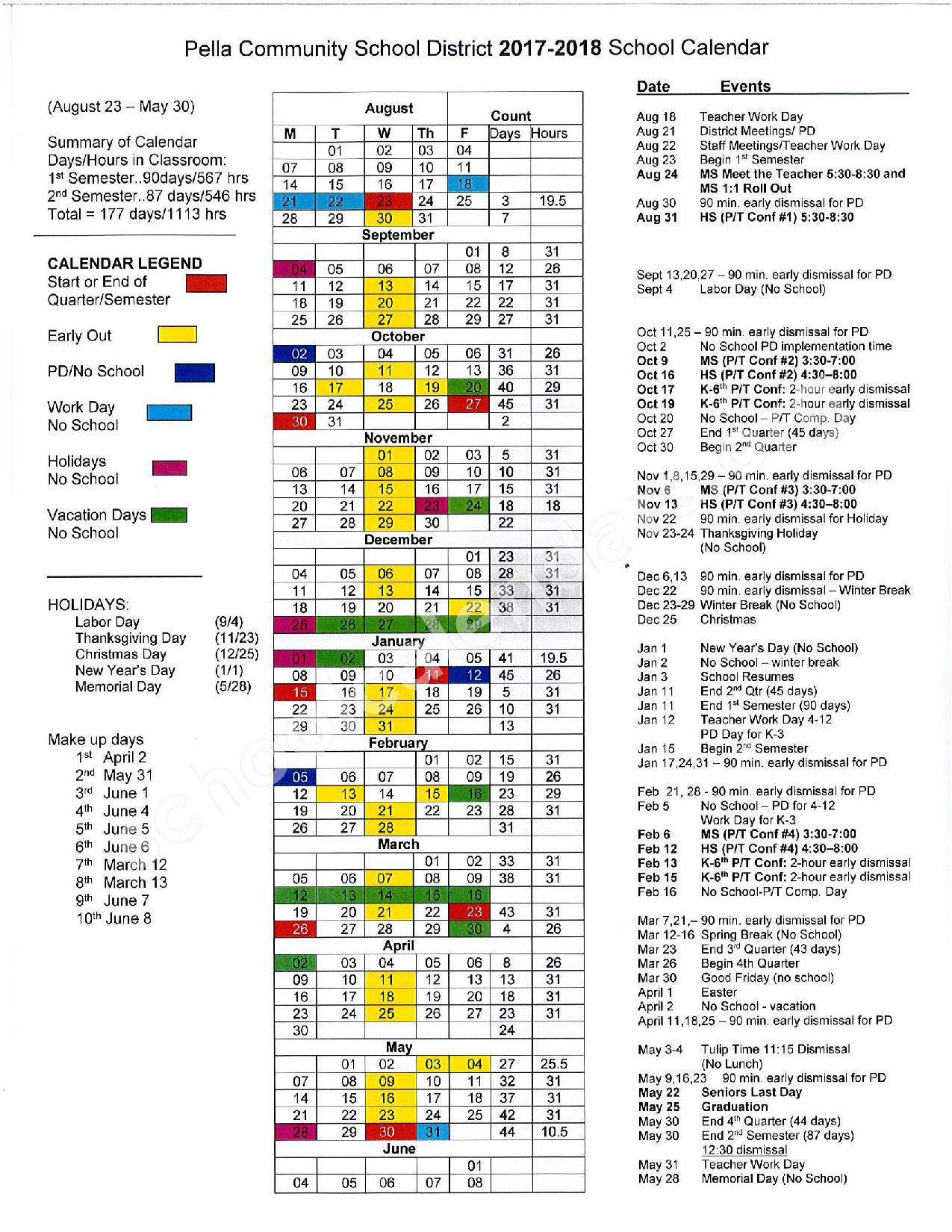 2017 - 2018 Academic Calendar – Pella Community School District – page 1
