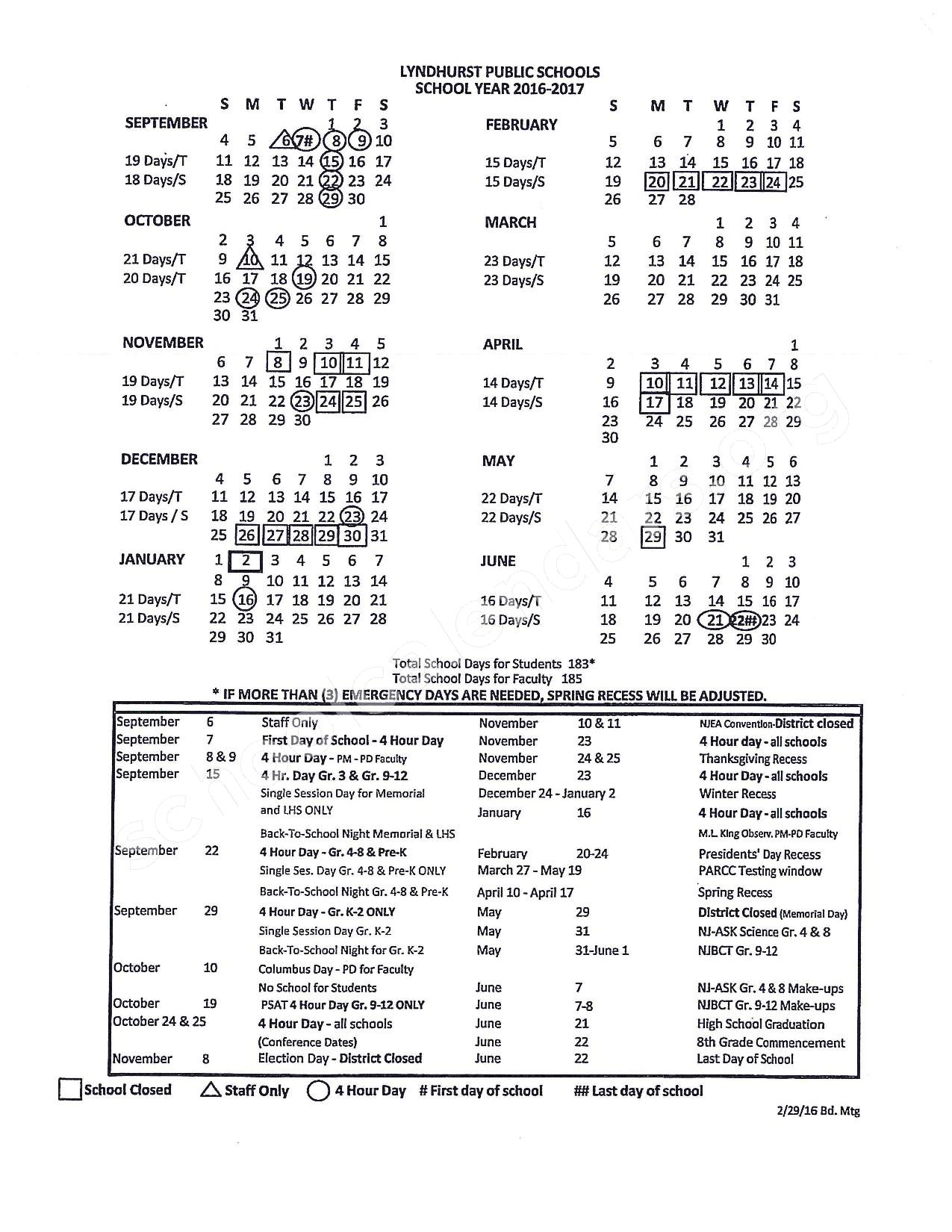 2016 - 2017 District Calendar – Lyndhurst School District – page 1