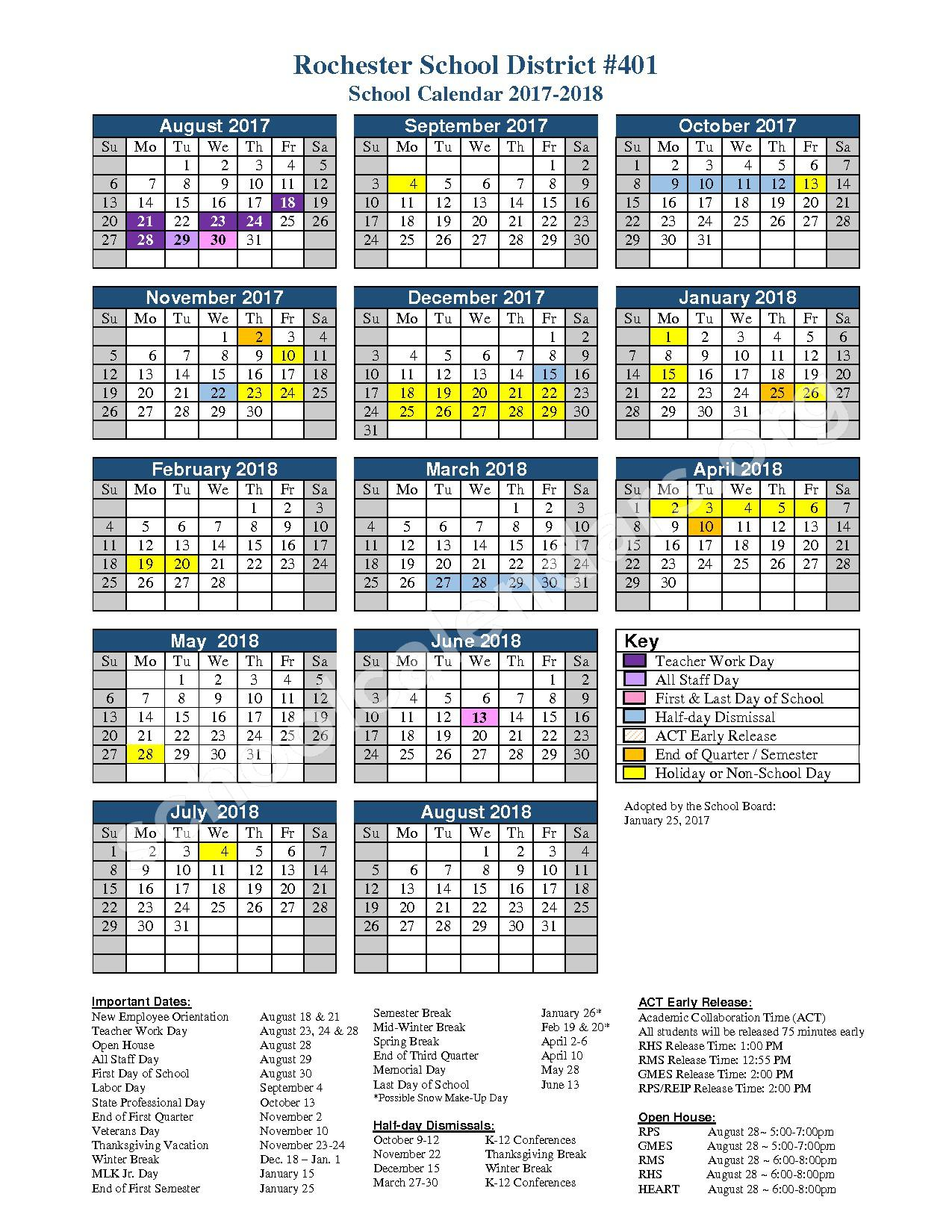 2017 - 2018 District Calendar – Rochester School District – page 1