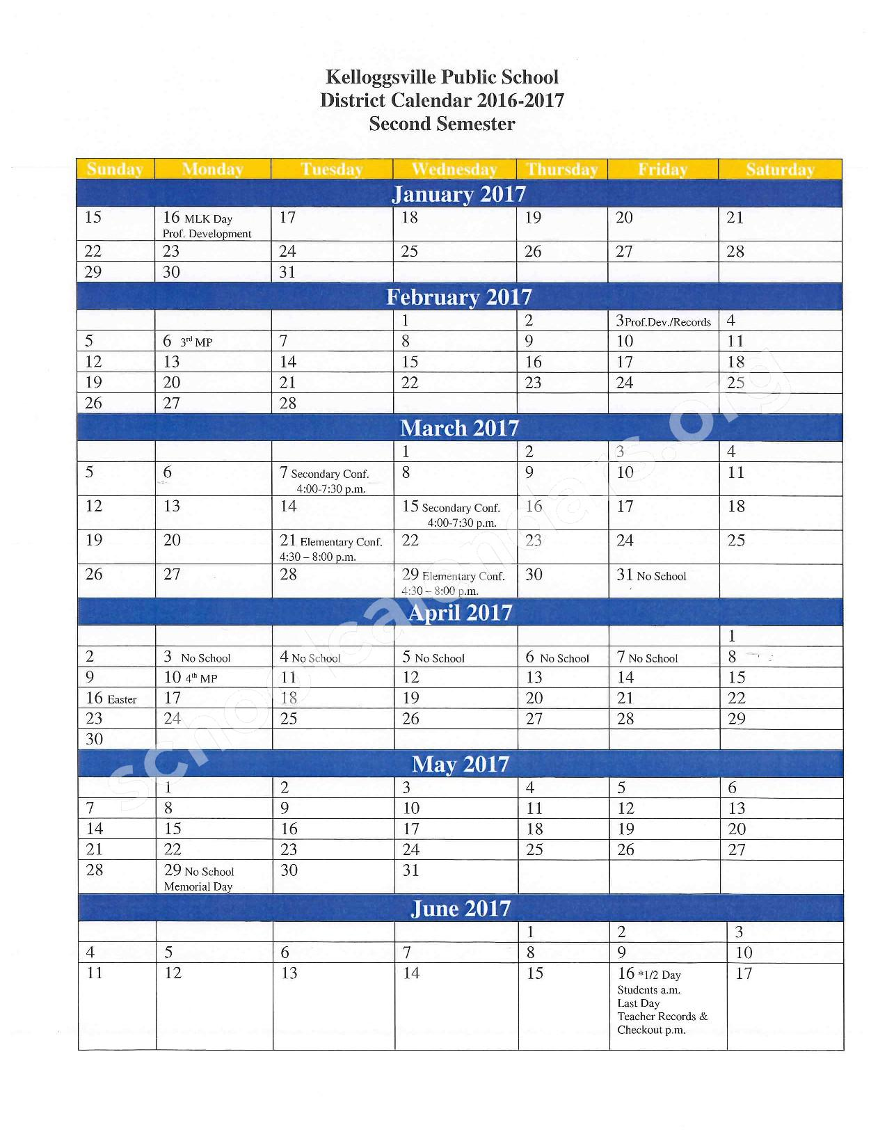 2016 - 2017 School Calendar – Kelloggsville Early Childhood Center – page 2
