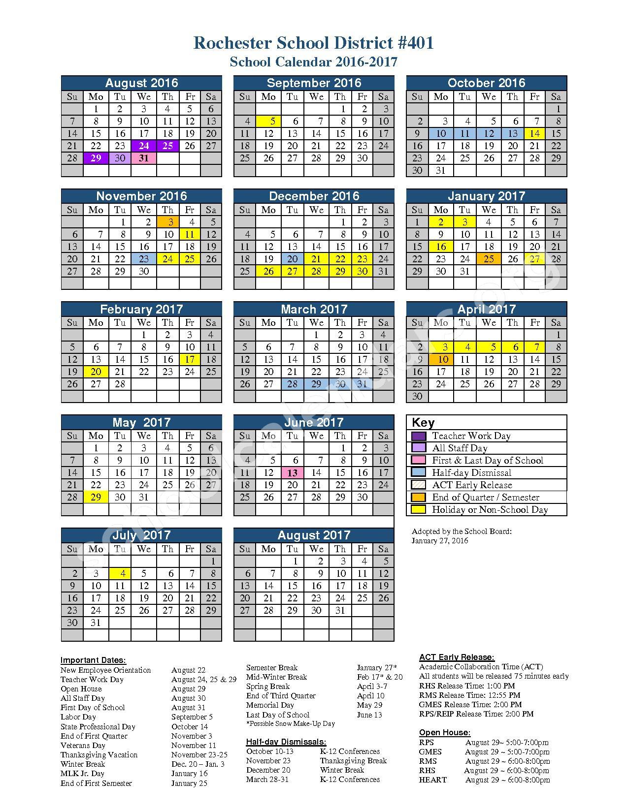 2016 - 2017 School Calendar – Rochester High School – page 1