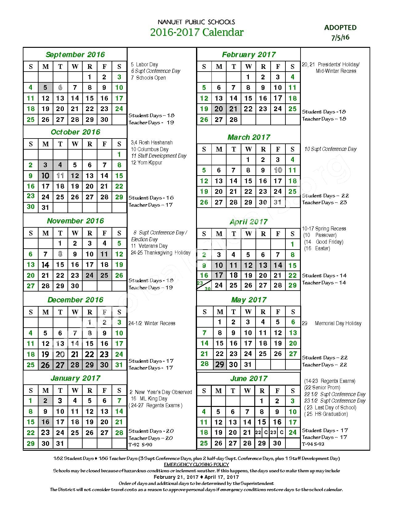 2016 - 2017 District Calendar – Nanuet Union Free School District – page 1
