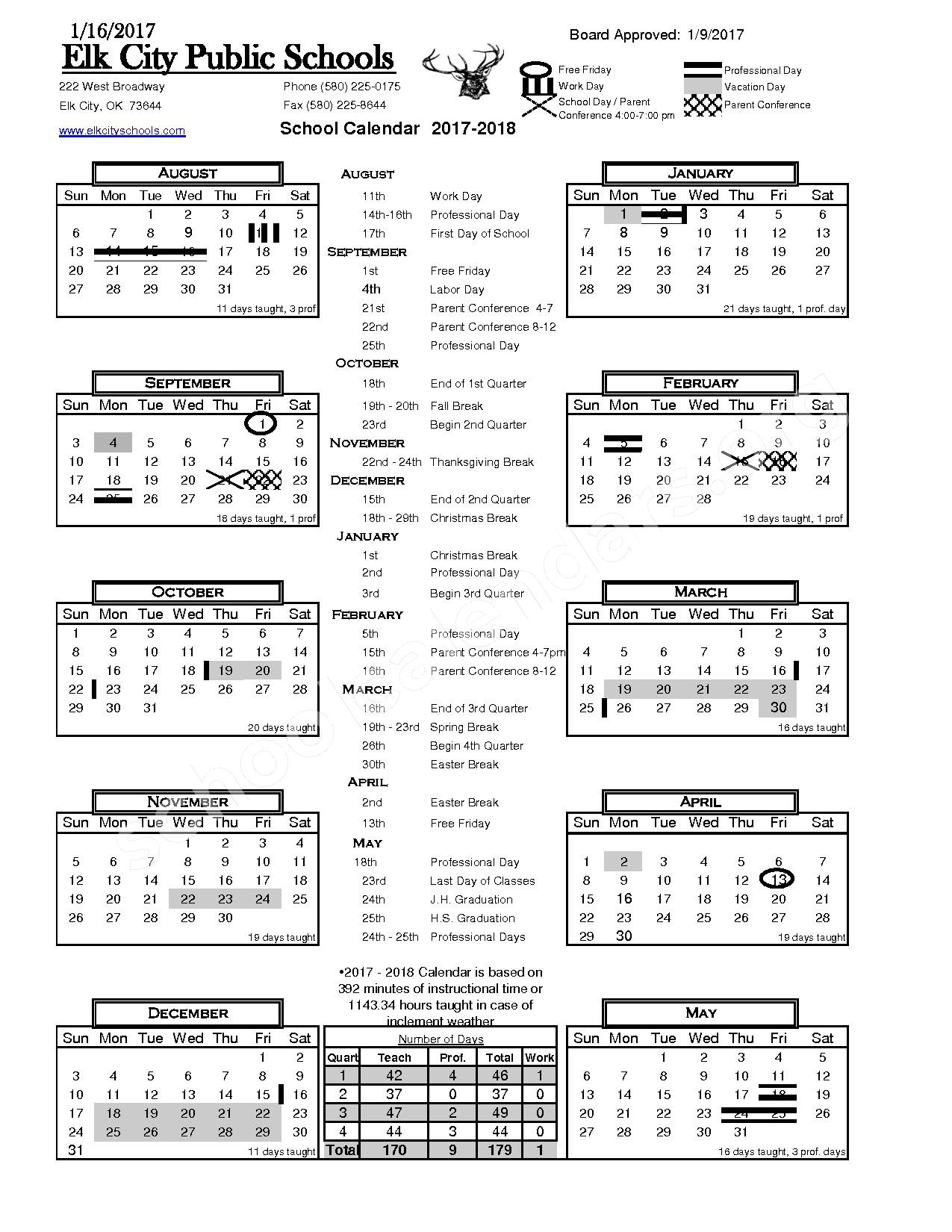 2017 - 2018 School Calendar – Fairview Elementary School – page 1