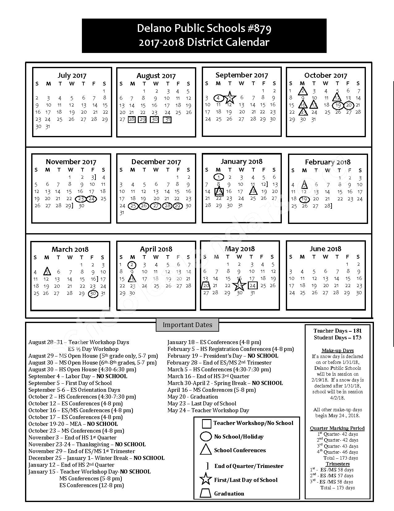 2017 - 2018 District Calendar – Delano Public School District – page 1