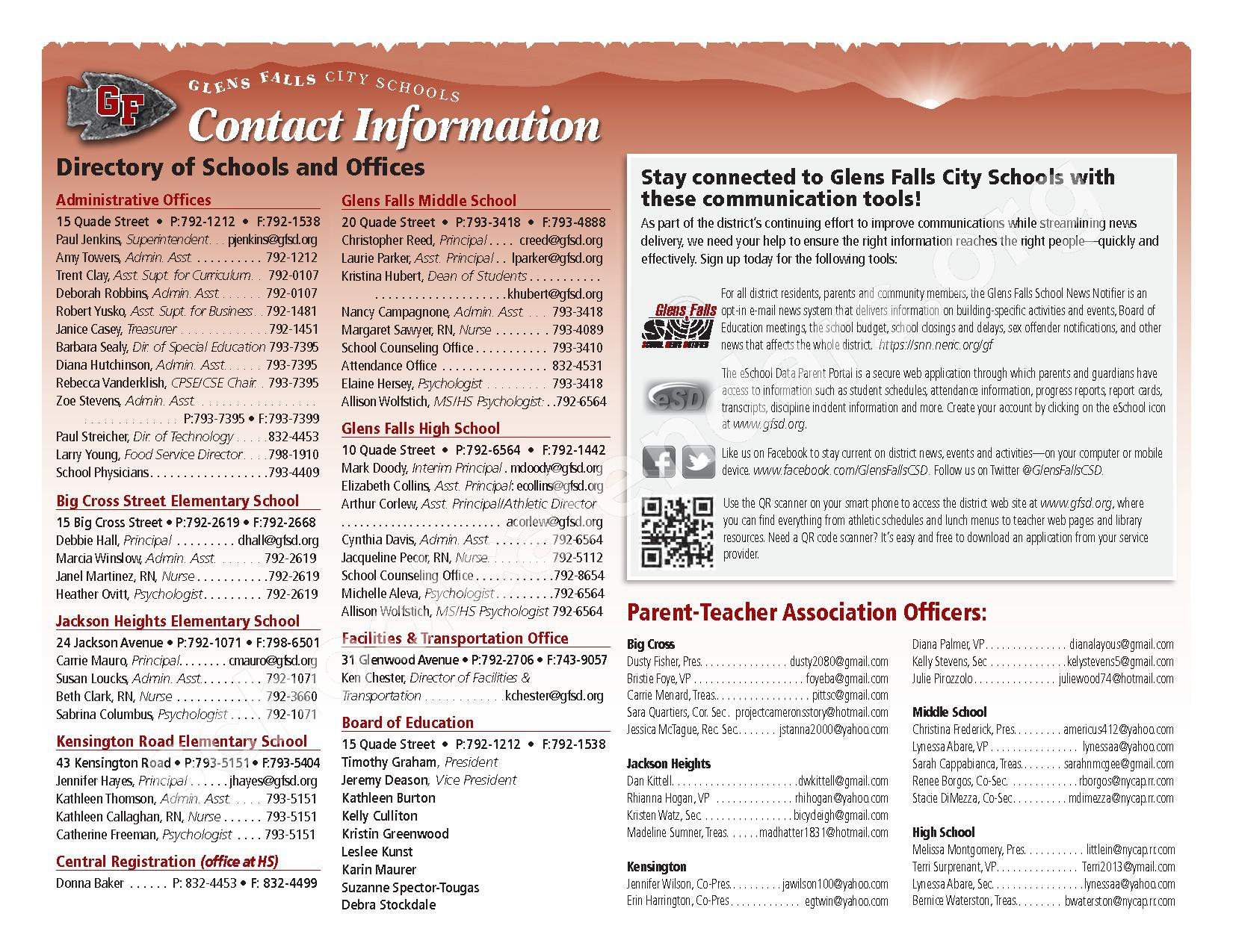 2016 - 2017  District Calendar – Glens Falls City School District – page 2
