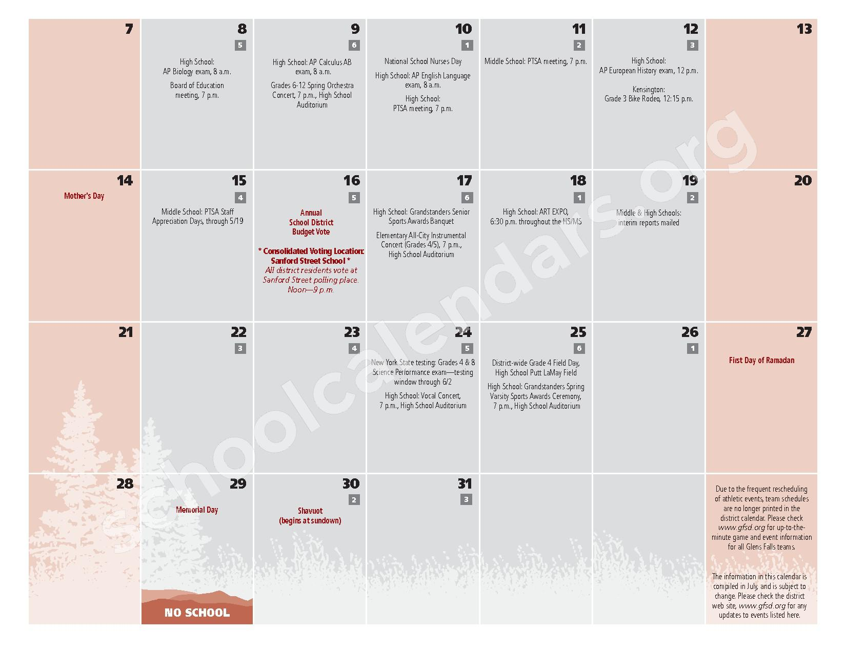 2016 - 2017  District Calendar – Glens Falls City School District – page 21