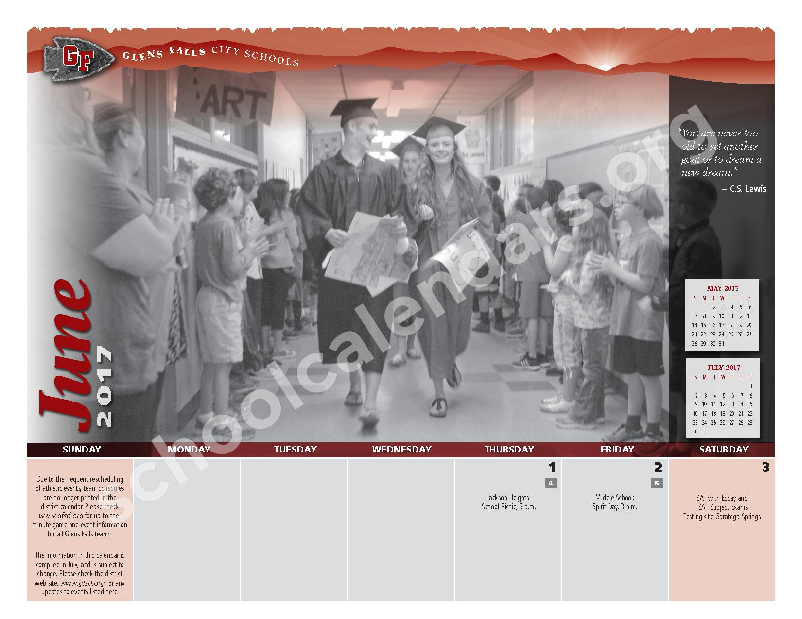 2016 - 2017  District Calendar – Glens Falls City School District – page 22