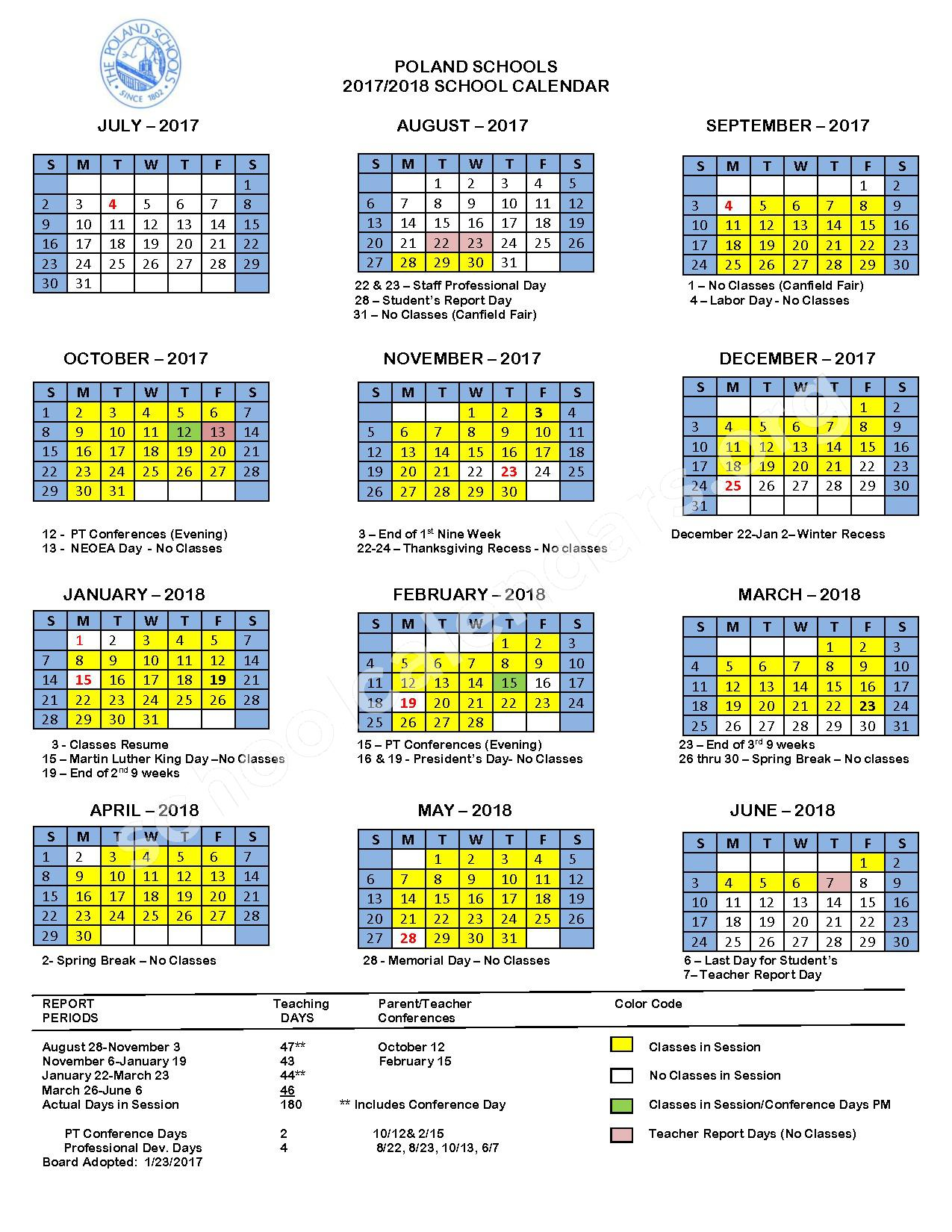 2017 - 2018 School Calendar – Poland School District – page 1