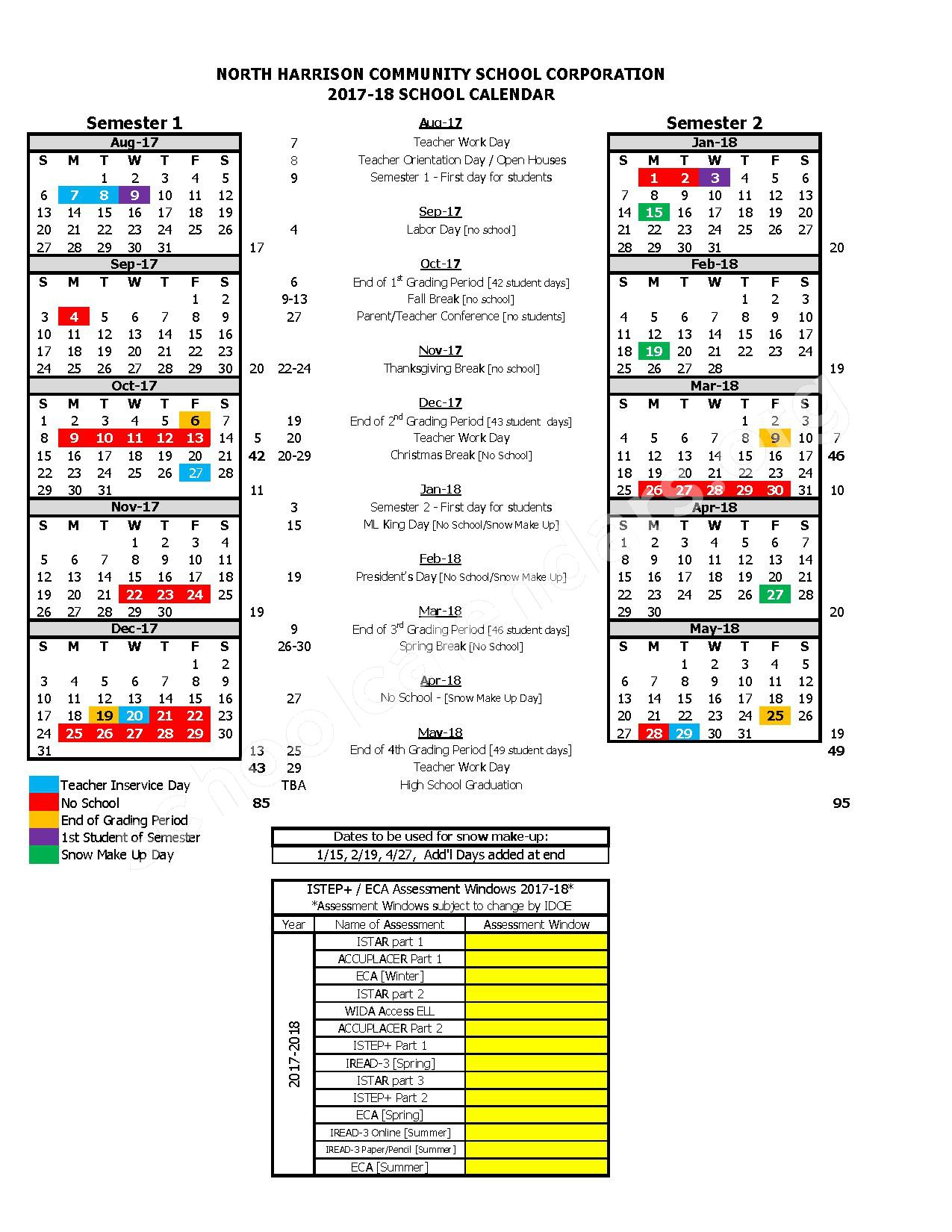 2017 - 2018 School Calendar – North Harrison Community School Corporation – page 1