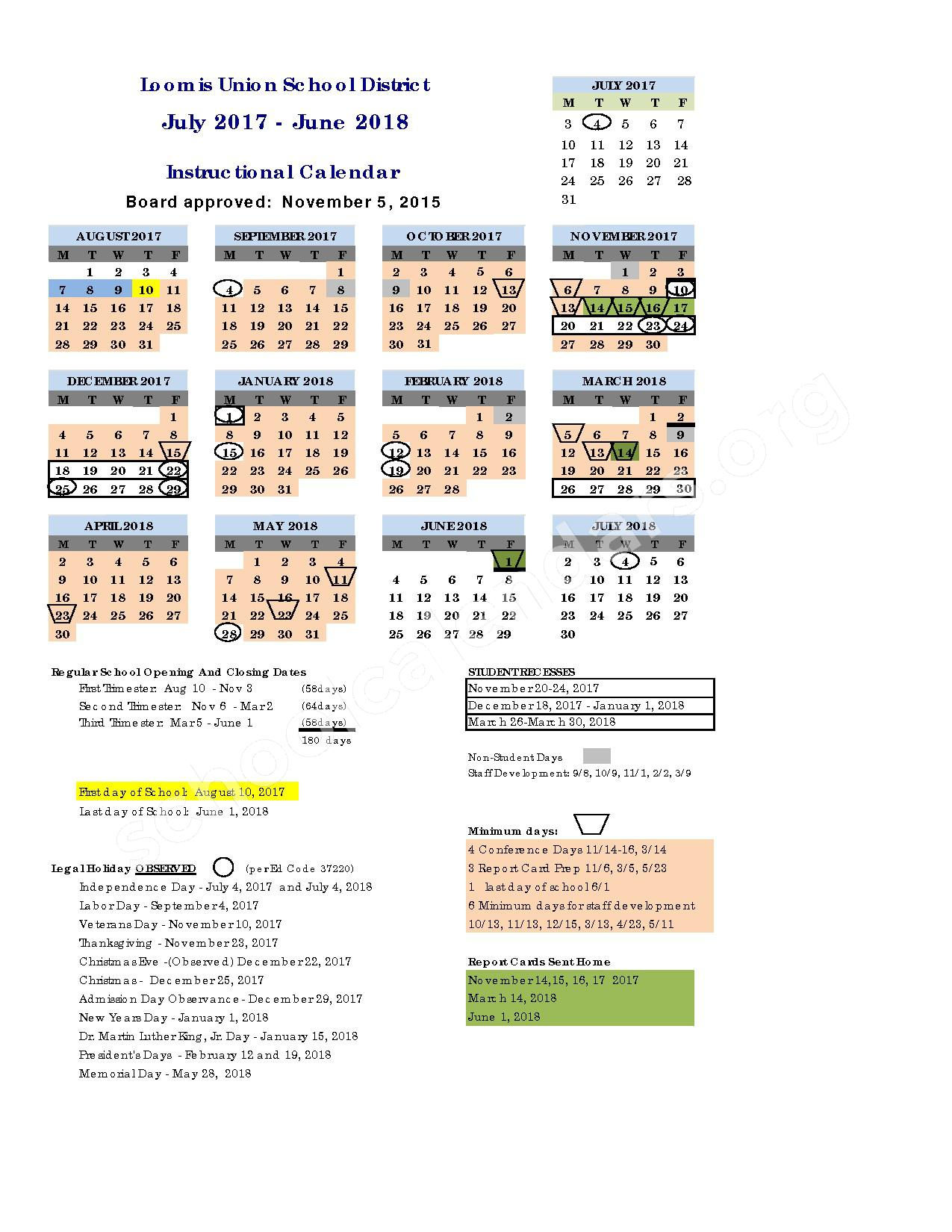 2017 - 2018 District Calendar – Loomis Union Elementary School District – page 1
