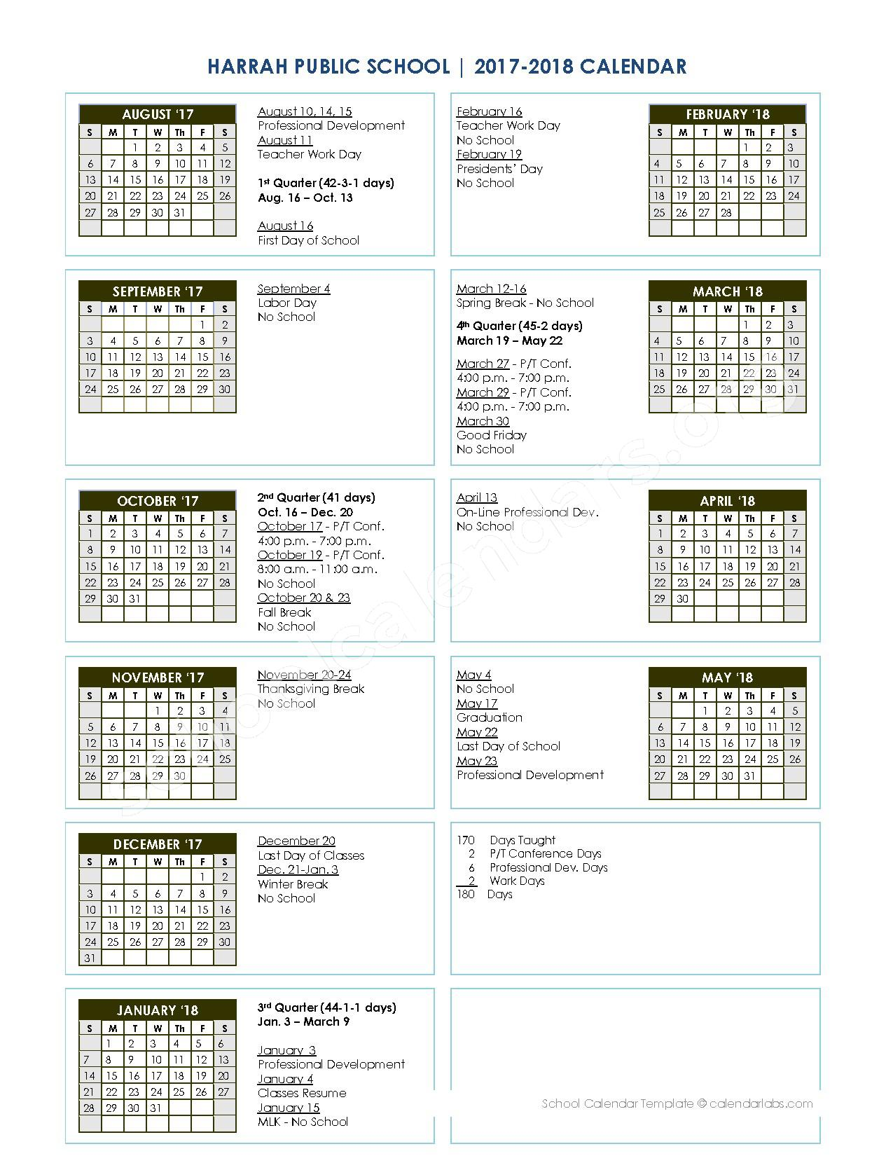 2017 - 2018 District Calendar – Russell Babb Elementary School – page 1