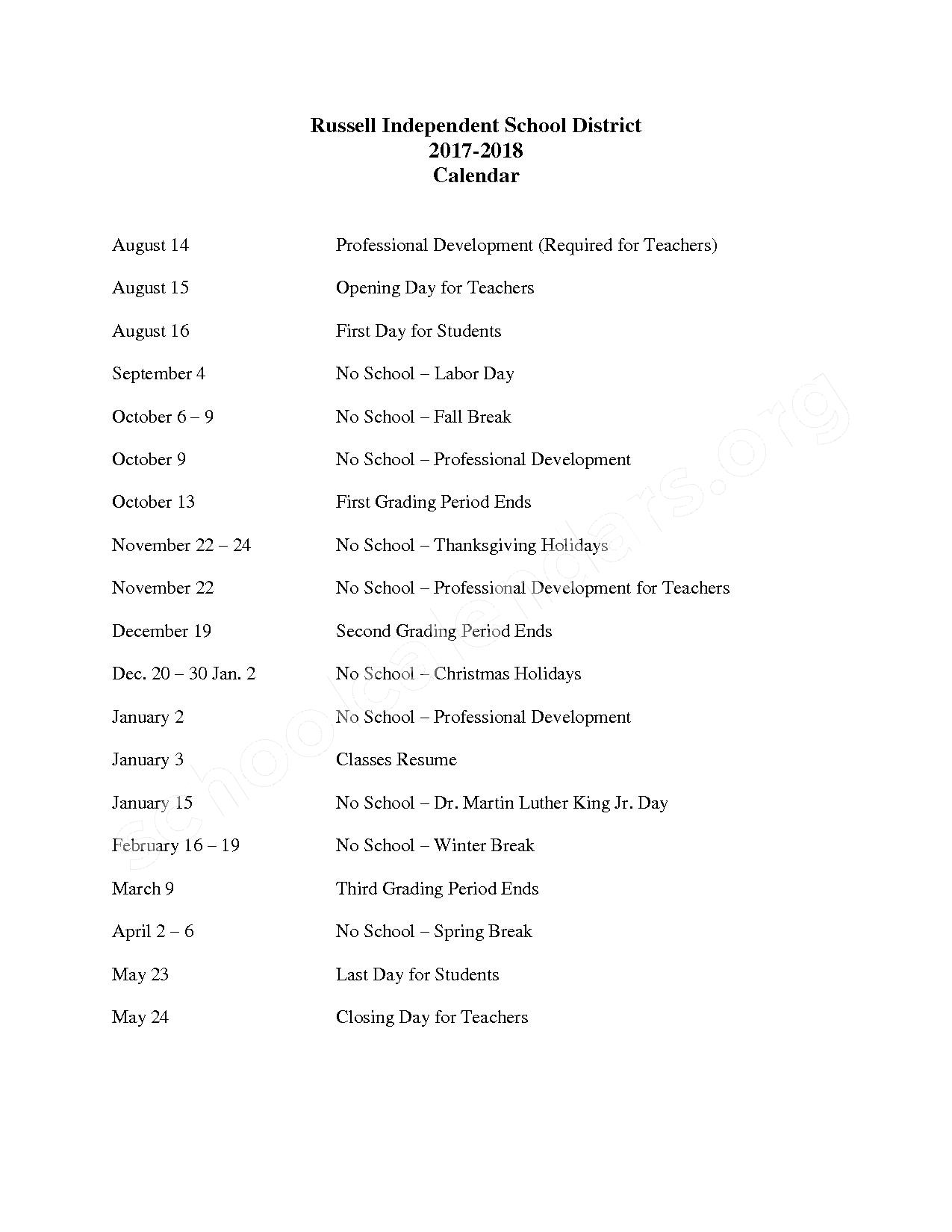 2017 - 2018 School Calendar – Russell Independent School District – page 1