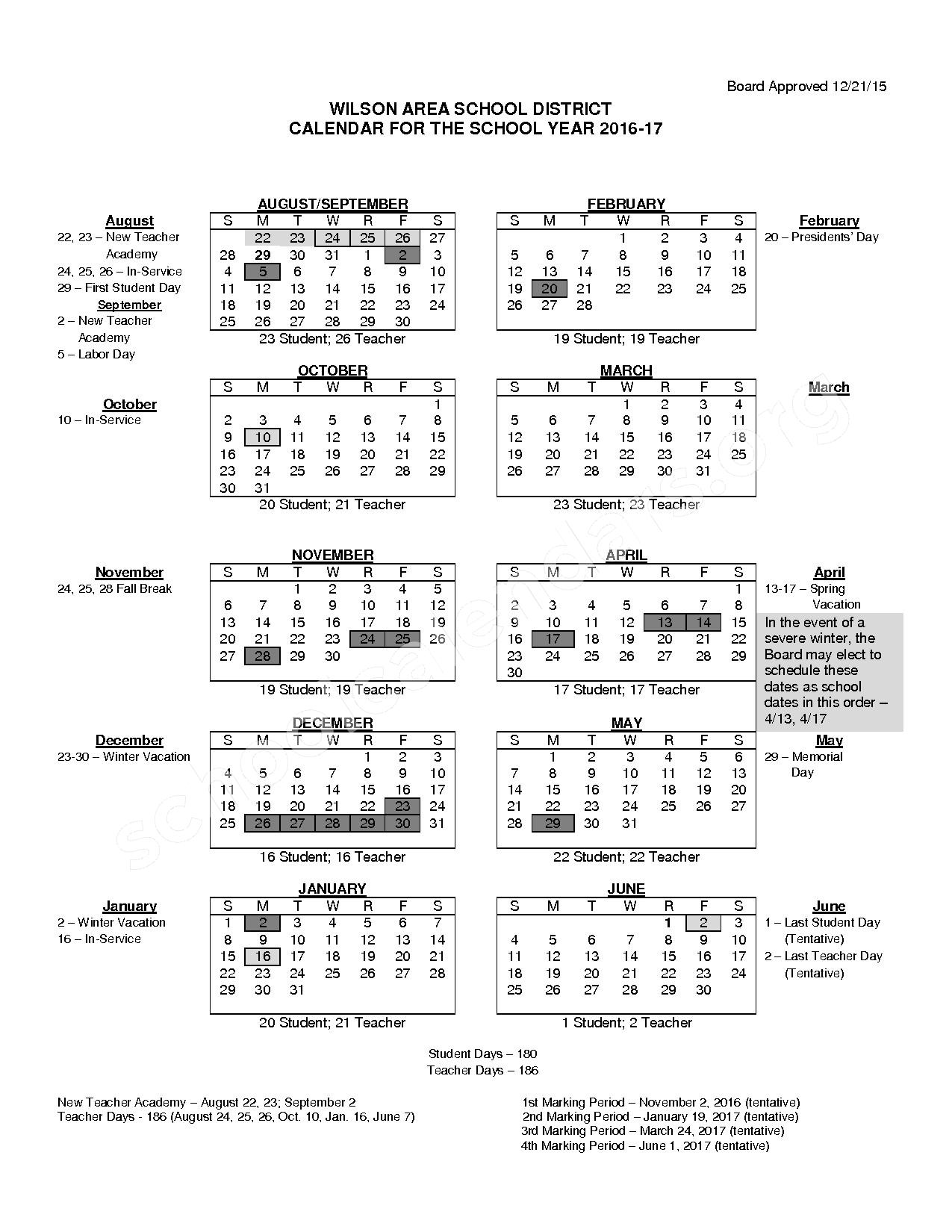 2016 - 2017 School Calendar – Wilson Area School District – page 1