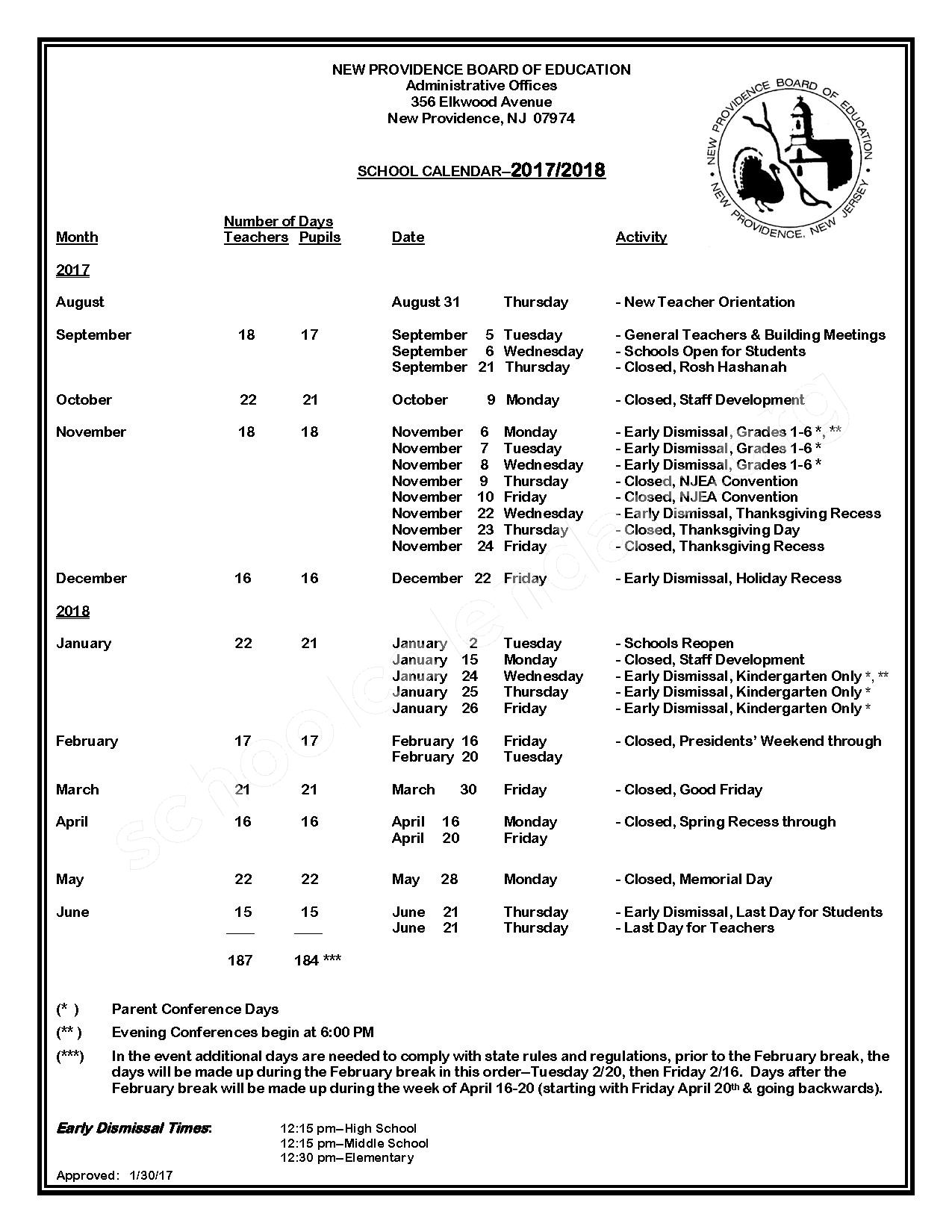 2017 - 2018 District Calendar – New Providence School District – page 1