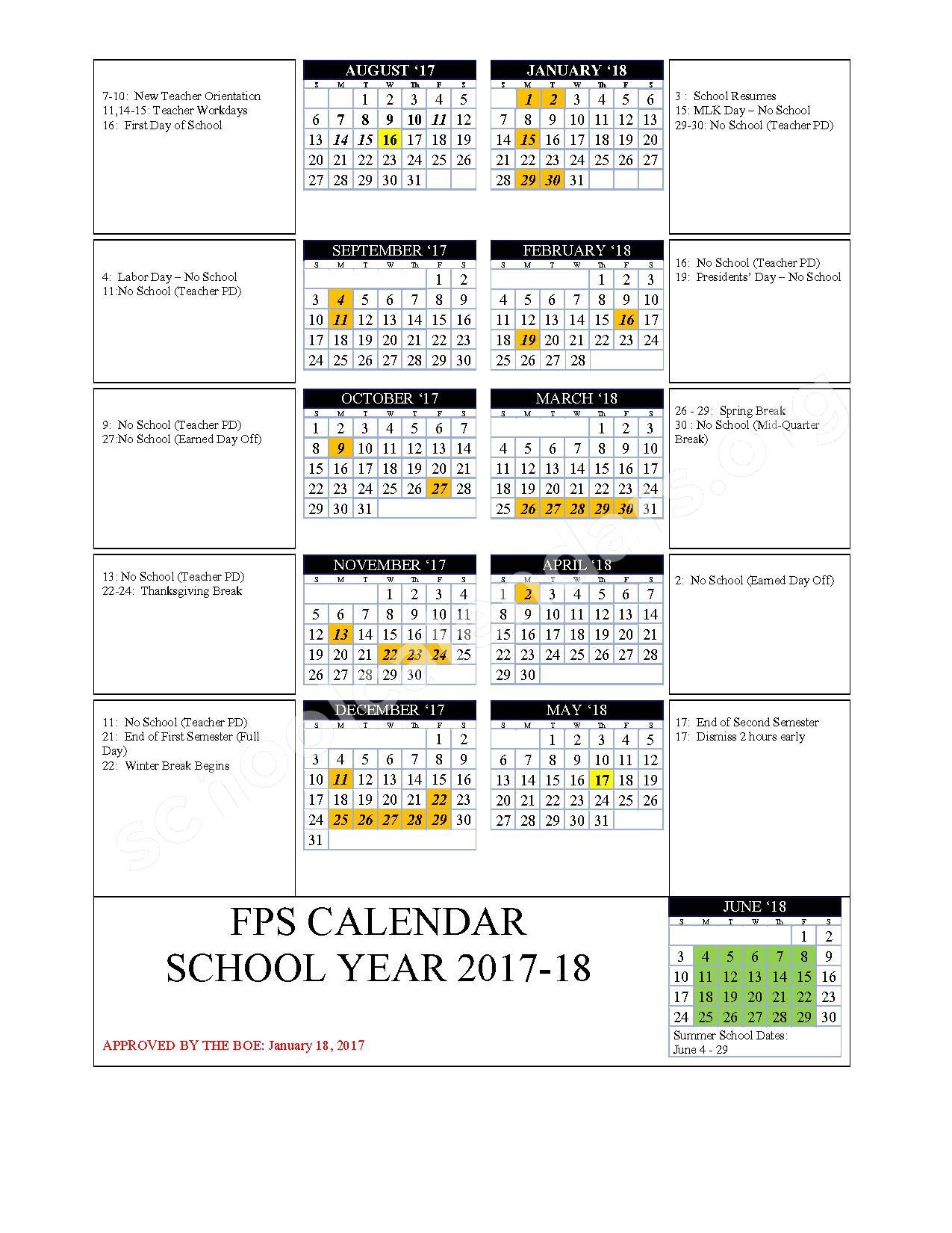 2017 - 2018 School Calendar – Fulton School District 58 – page 1