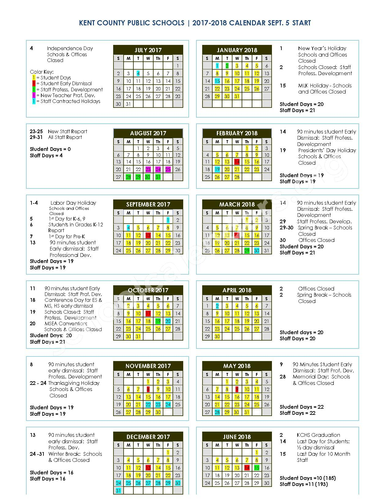 2017 - 2018 District Calendar – Kent County Middle School – page 1