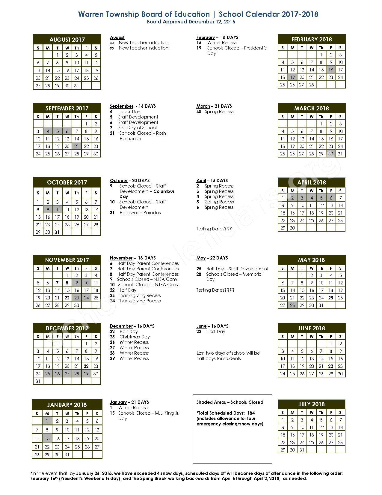 2017 - 2018 School Calendar – Warren Township Schools – page 1