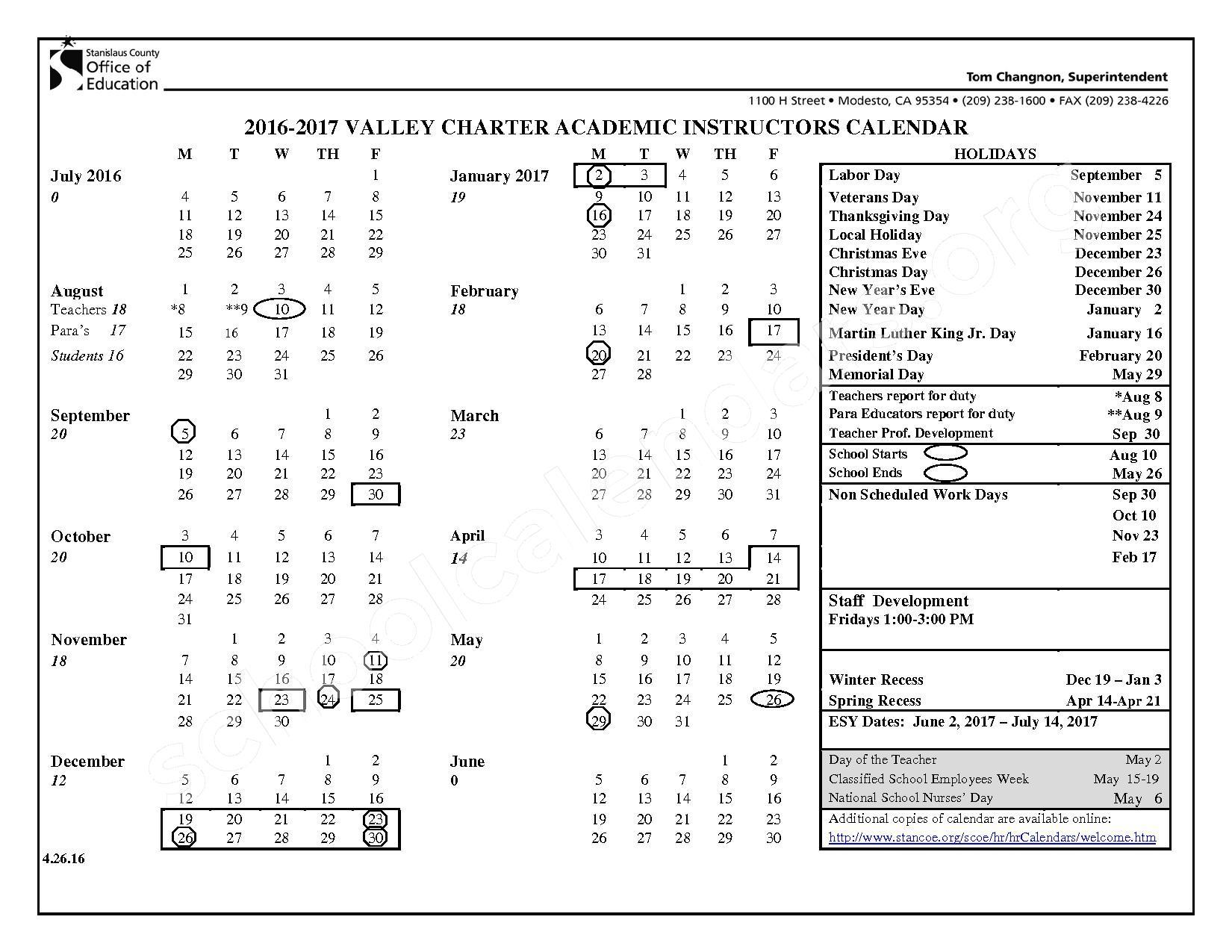 2016 - 2017 School Calendar – Hughson Unified School District – page 1