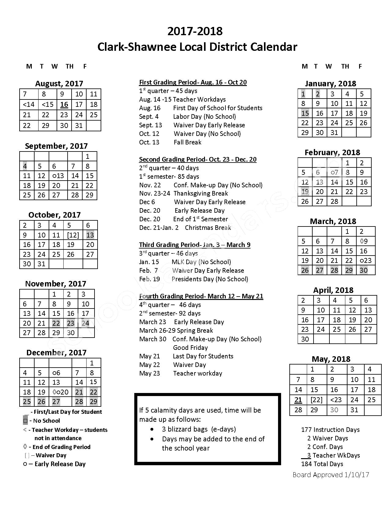 2017 - 2018 School Calendar – Shawnee High School – page 1