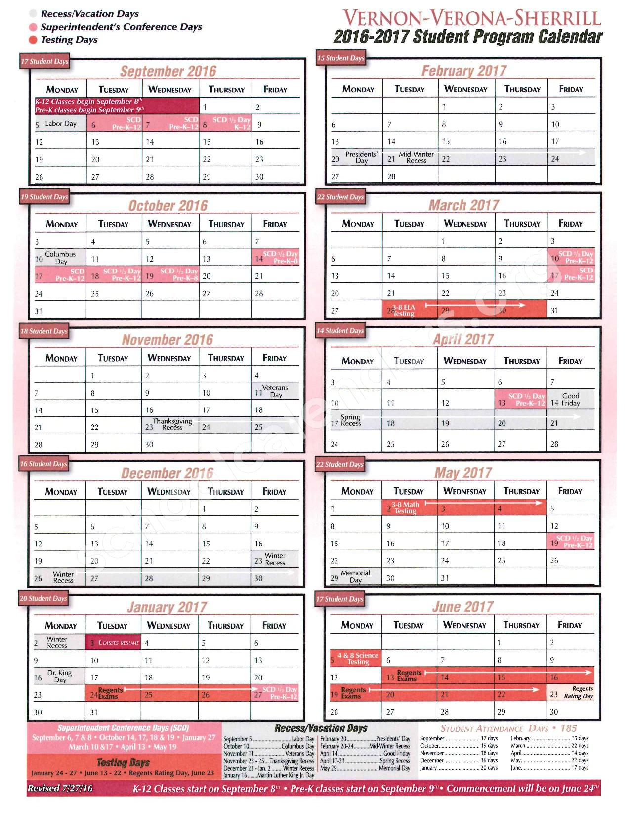 2016 - 2017 District Calendar – E A McAllister Elementary School – page 1