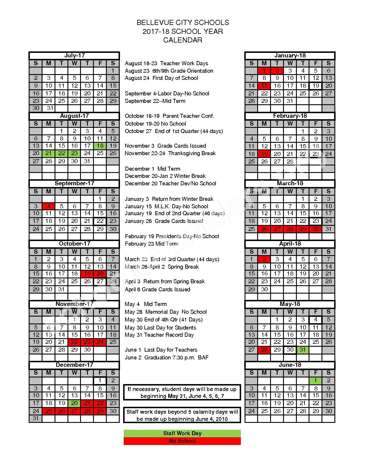 2017 - 2018 District Calendar – Ridge Elementary School – page 1