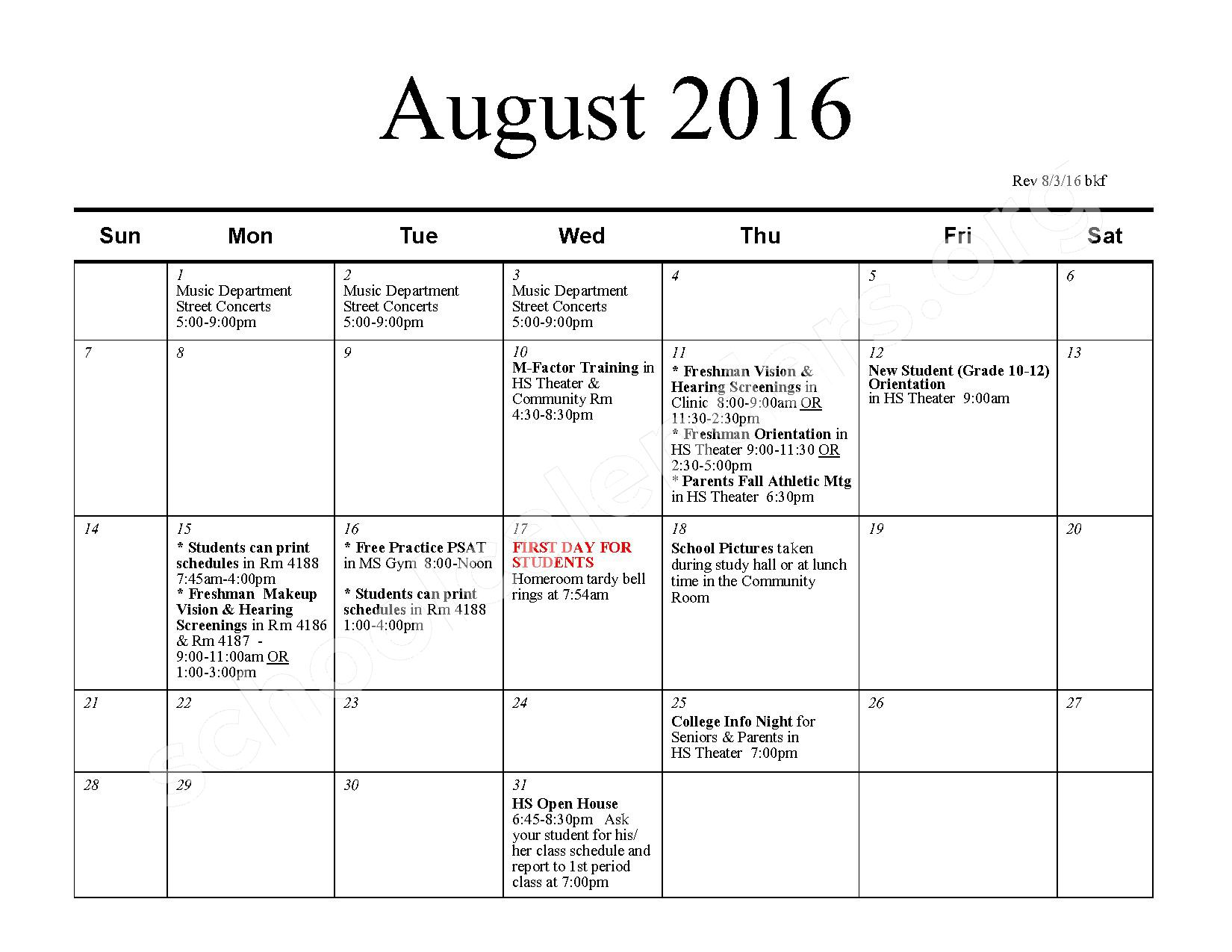 2016 - 2017 School Calendar – Bexley City School District – page 1